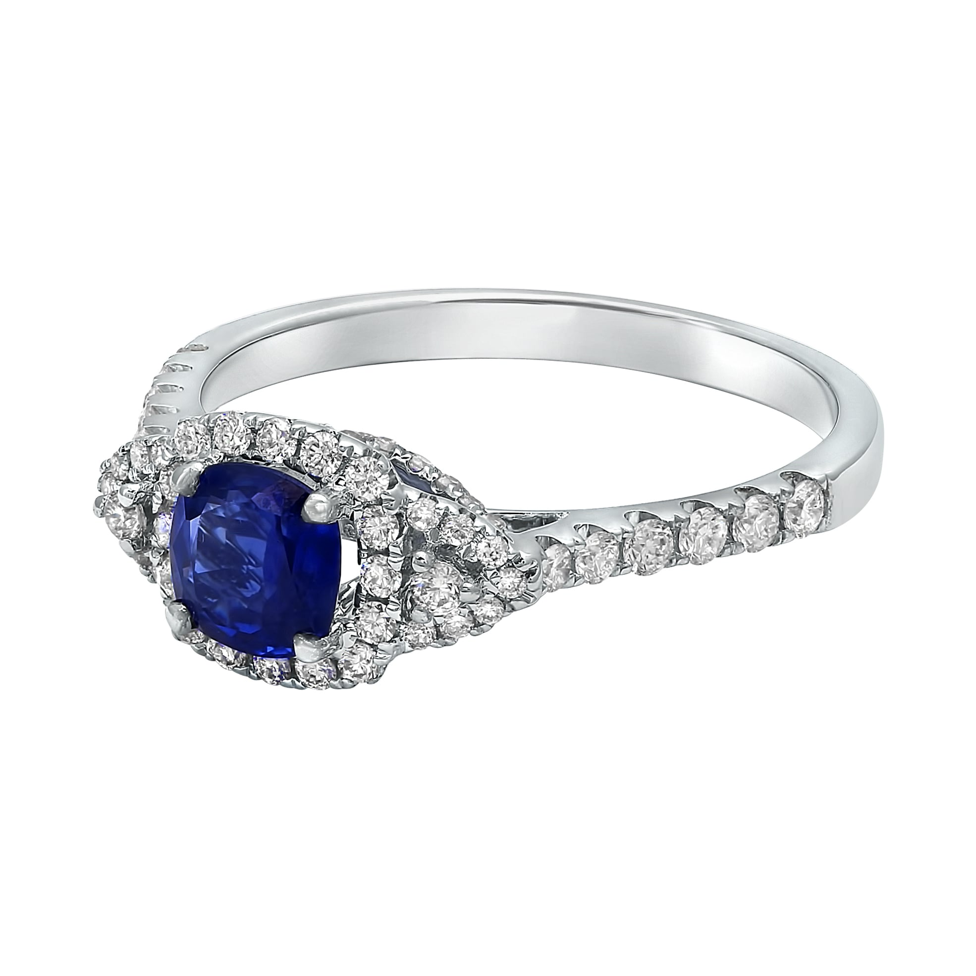 solitaire sapphire engagement products blue gemstone with unique carat diamonds ring