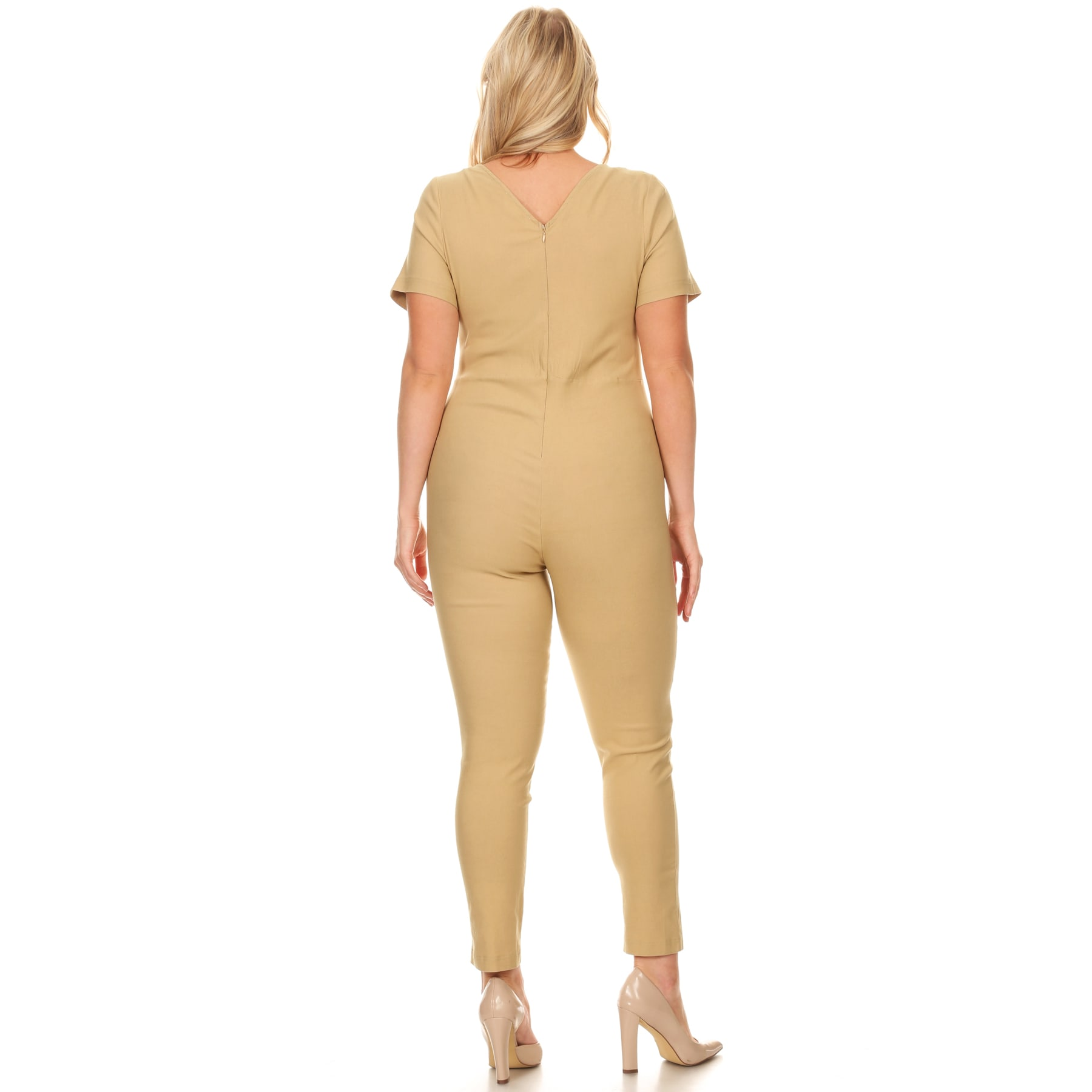 63fe855c373 Shop Xehar Women s Plus Size Slimming V-Neck Button Jumpsuit Playsuit -  Free Shipping On Orders Over  45 - Overstock.com - 15867104