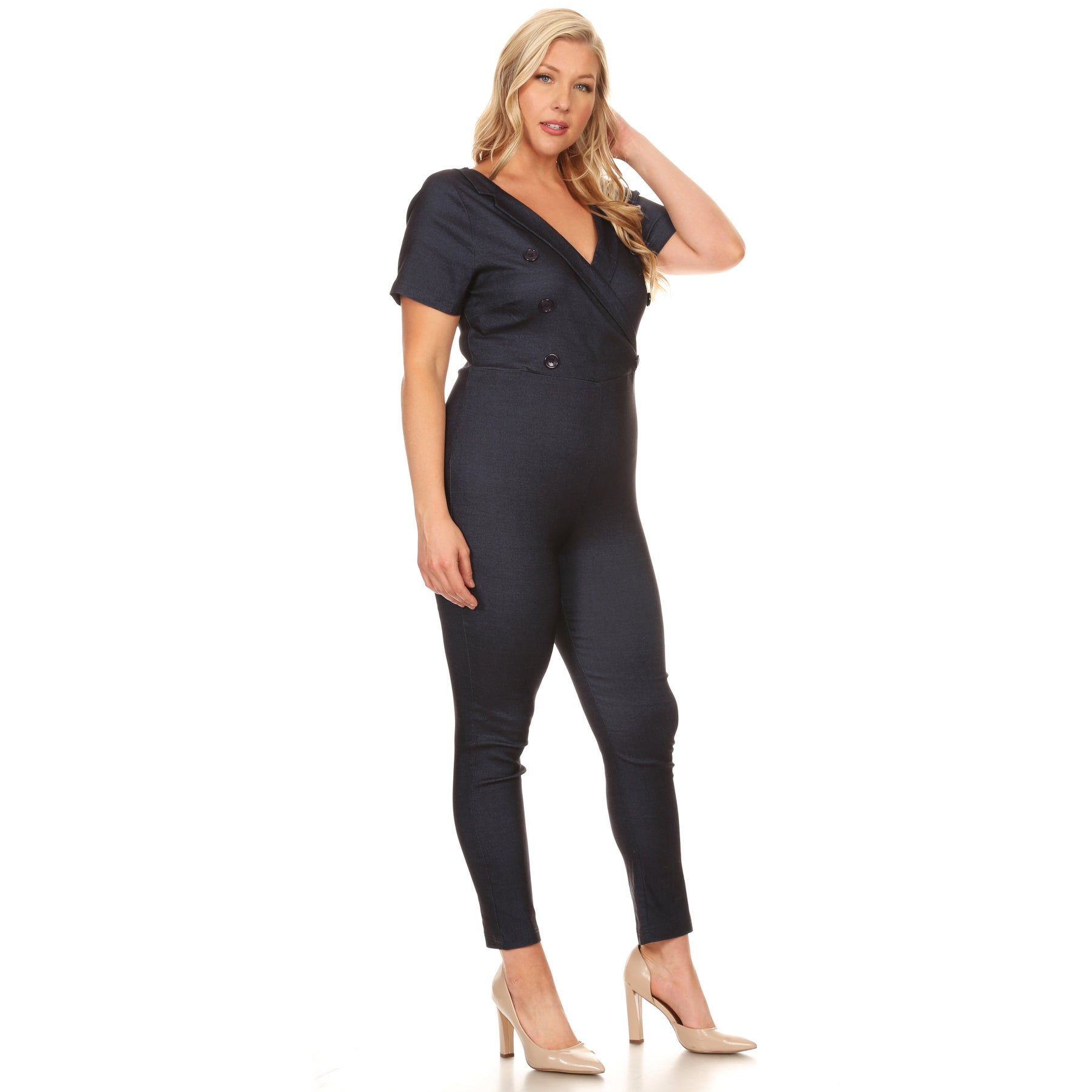 6267bacaed0 Shop Xehar Women s Plus Size Slimming V-Neck Button Jumpsuit Playsuit - On  Sale - Free Shipping On Orders Over  45 - Overstock.com - 15867111