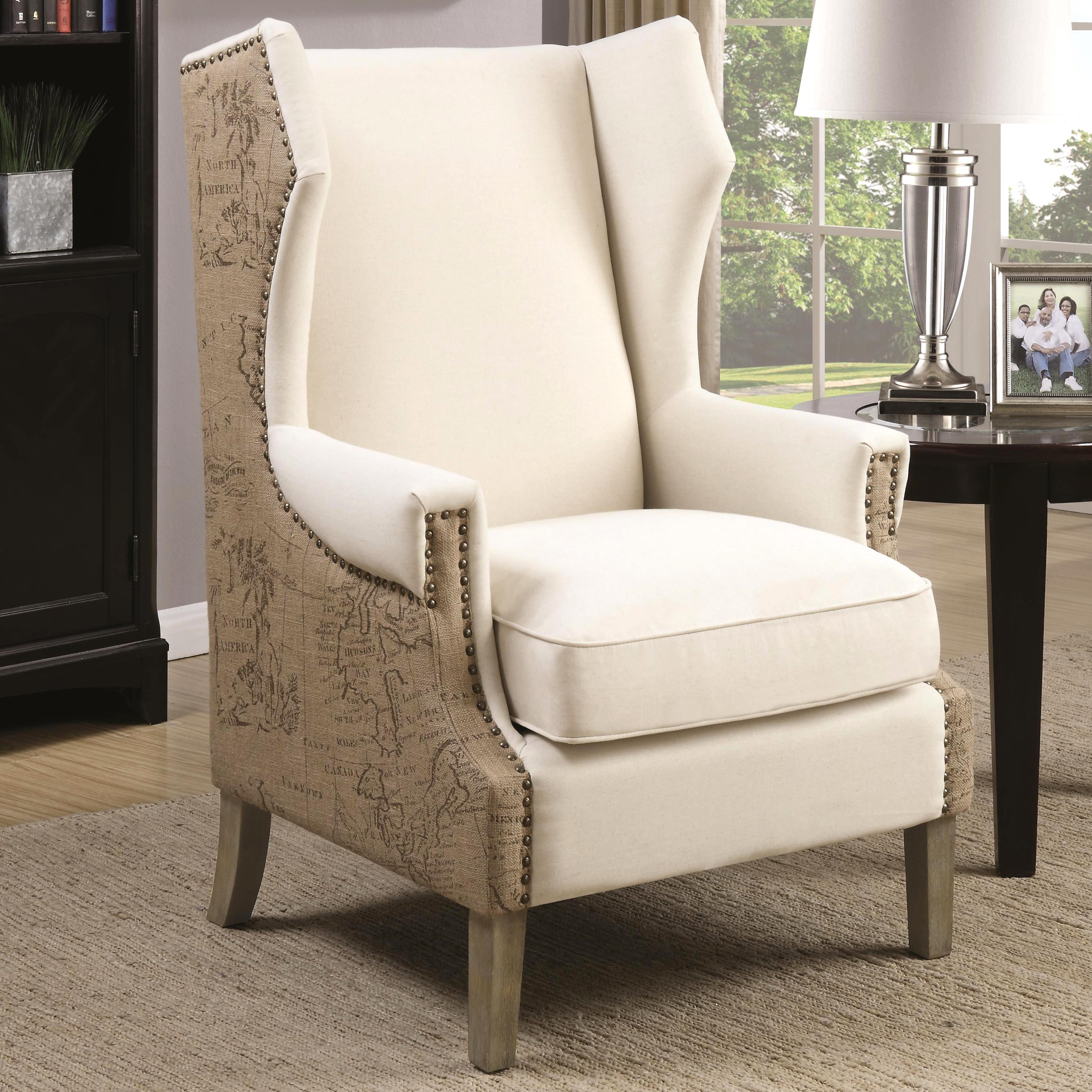 Vintage Map Print Design Wing Back Accent Chair with Nailhead Trim ...