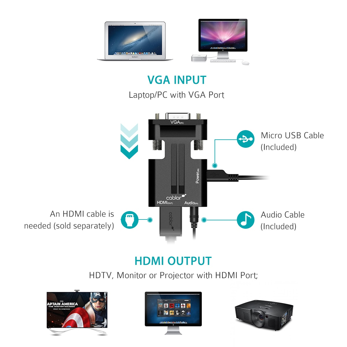 Shop Vga To Hdmi Converter Adapter 1080p Video Output Audio Cable Full Hd Male And For Hdtv Monitor Micro Usb Included Free Shipping On Orders Over 45