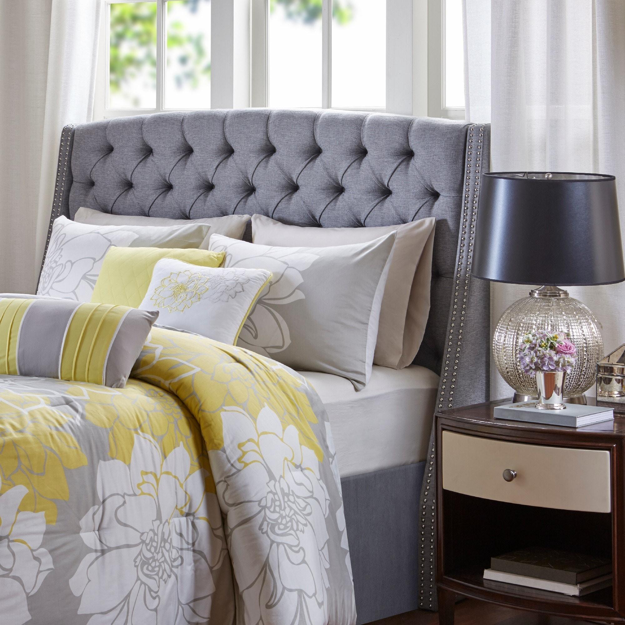 Shop madison park estella grey upholstery headboard free shipping today overstock com 15871108