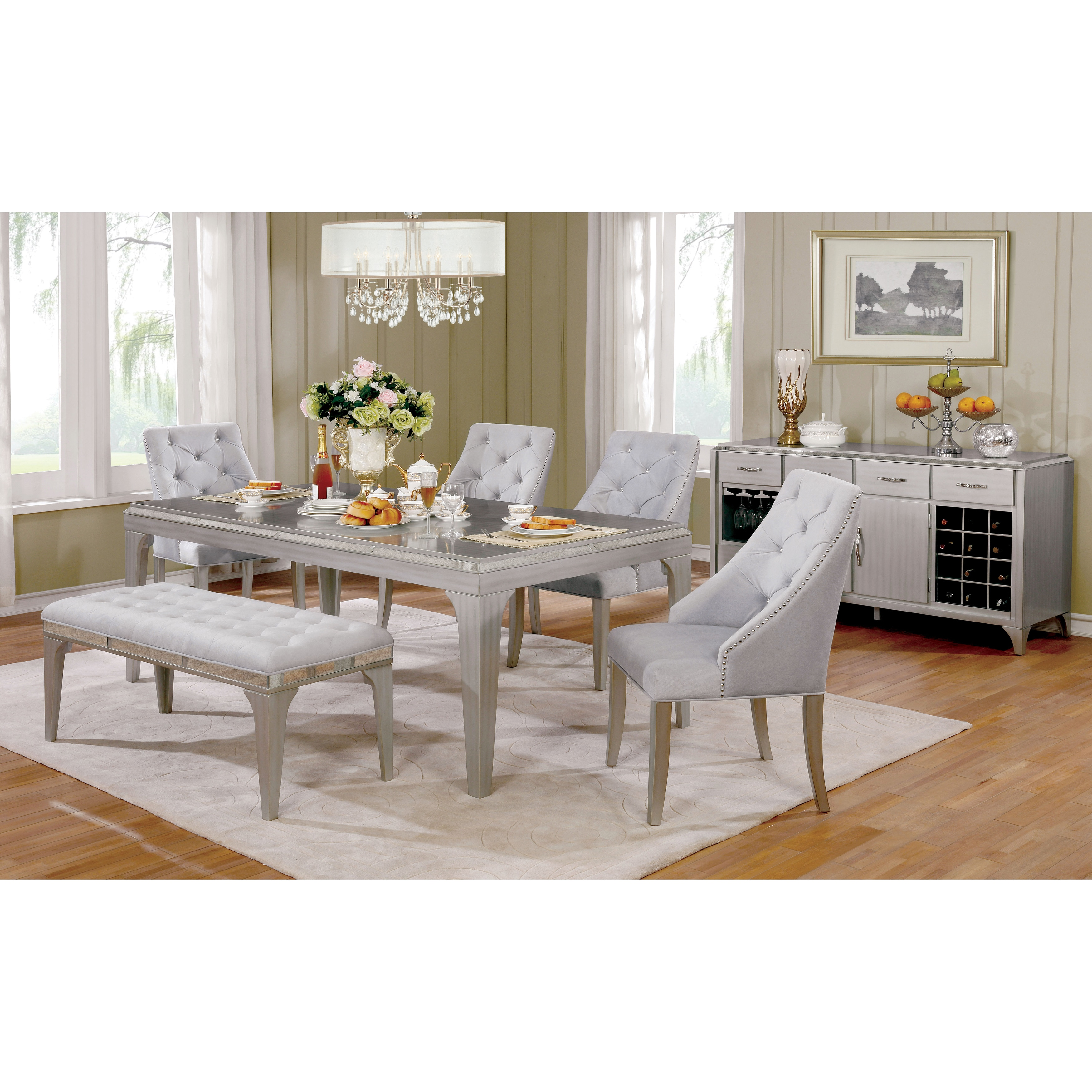 Shop Furniture Of America Selano Contemporary Mirrored Silver - 84 inch dining room table