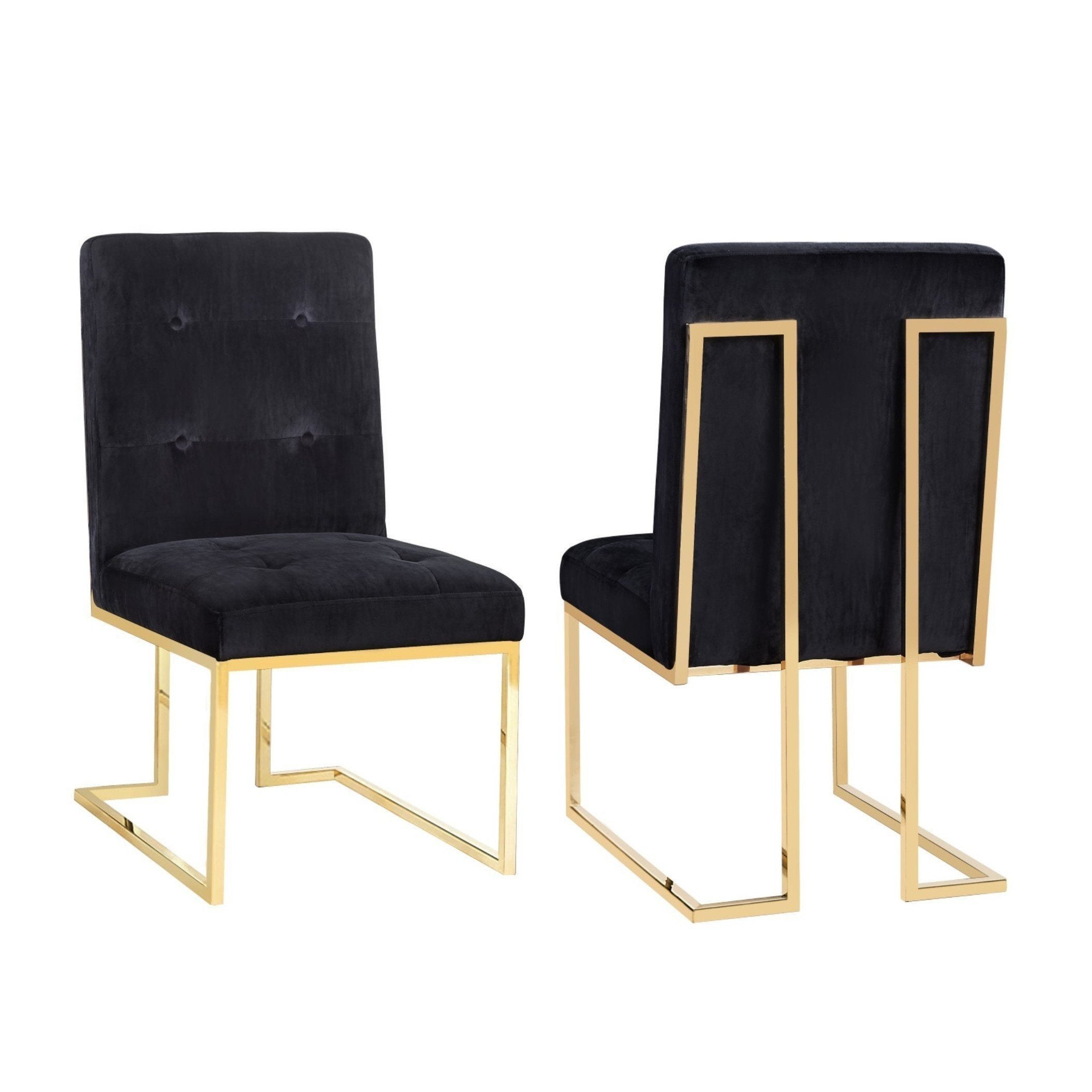 Shop Akiko Black Velvet Chairs (Set Of 2)   Free Shipping Today    Overstock.com   15871159
