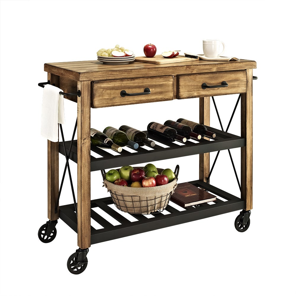 Carbon Loft Edwin Wood And Metal Kitchen Cart Free Shipping Today 20931585