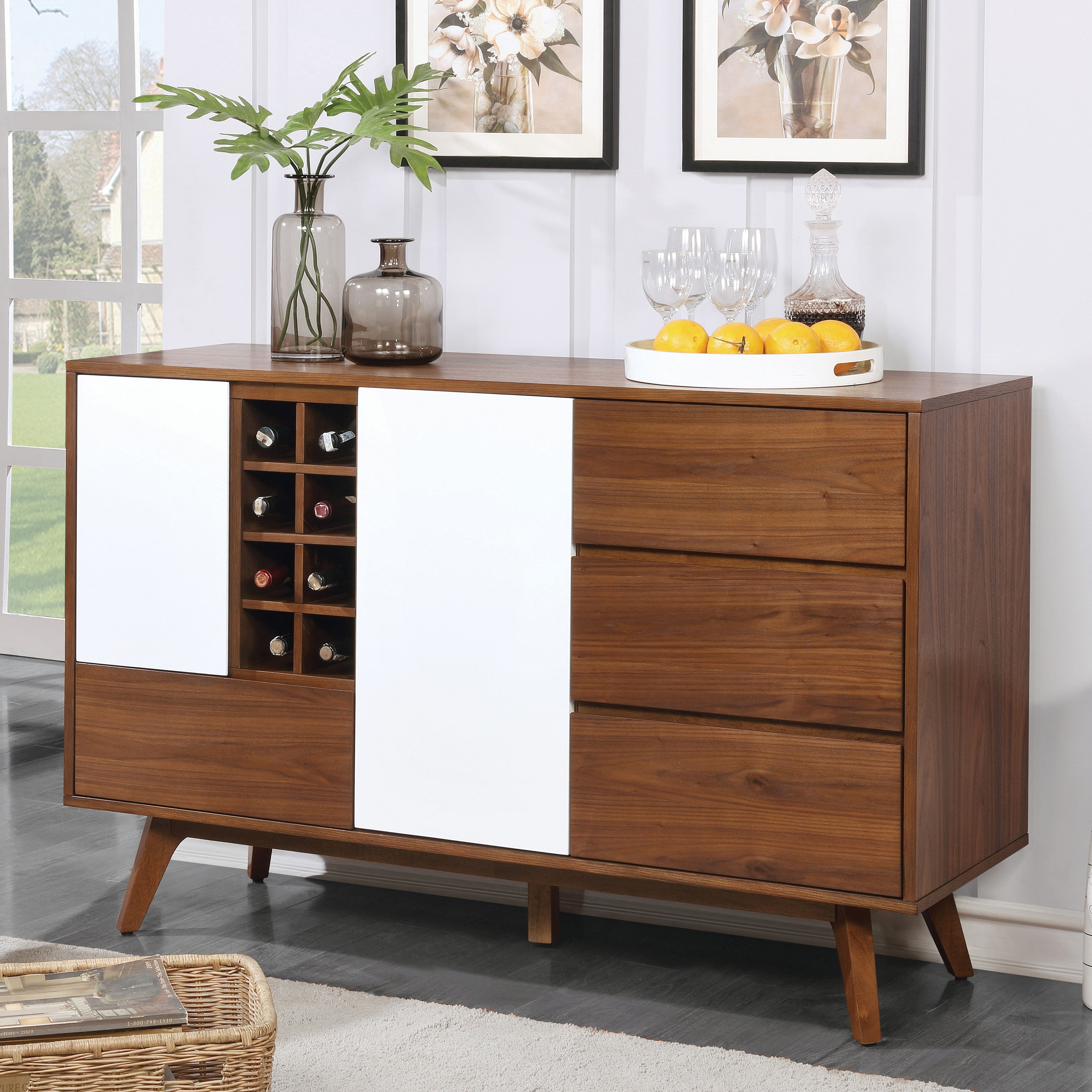 Furniture of america liman mid century modern 2 tone oak white multi storage buffet wine cabinet