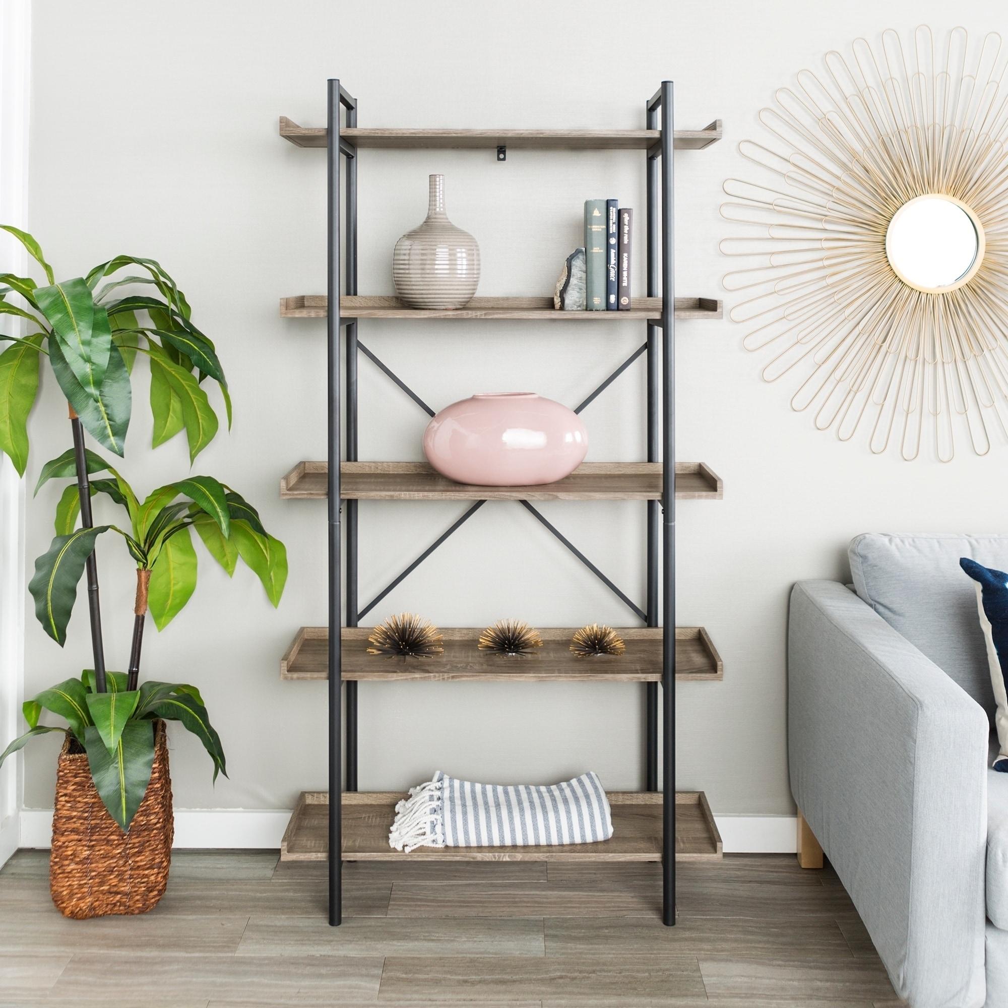 Carbon Loft Edelman 68 Inch Urban Pipe Bookshelf  Free Shipping
