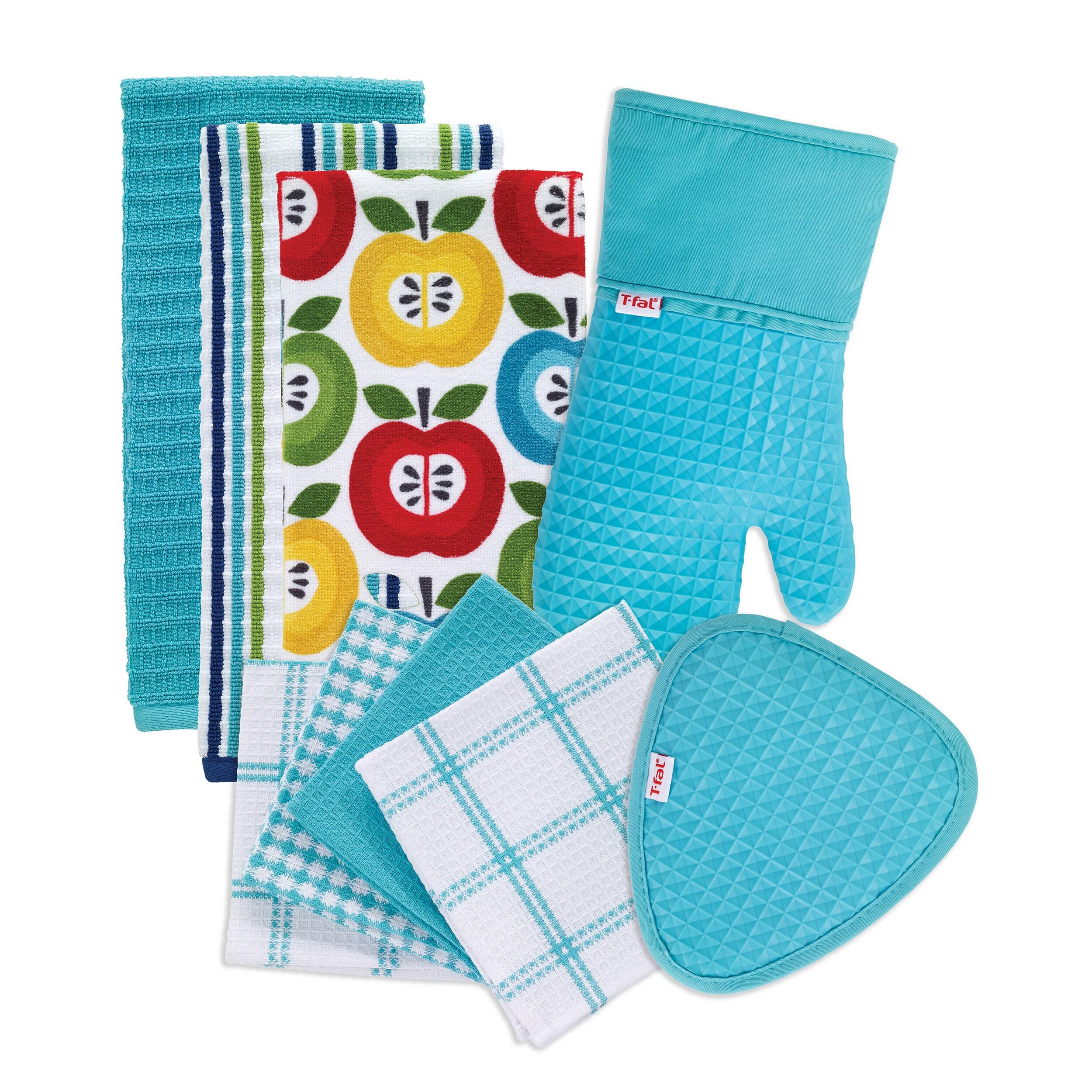 T-fal Textiles 9 Pack Kitchen Textile Set: Kitchen Towels, Dish ...