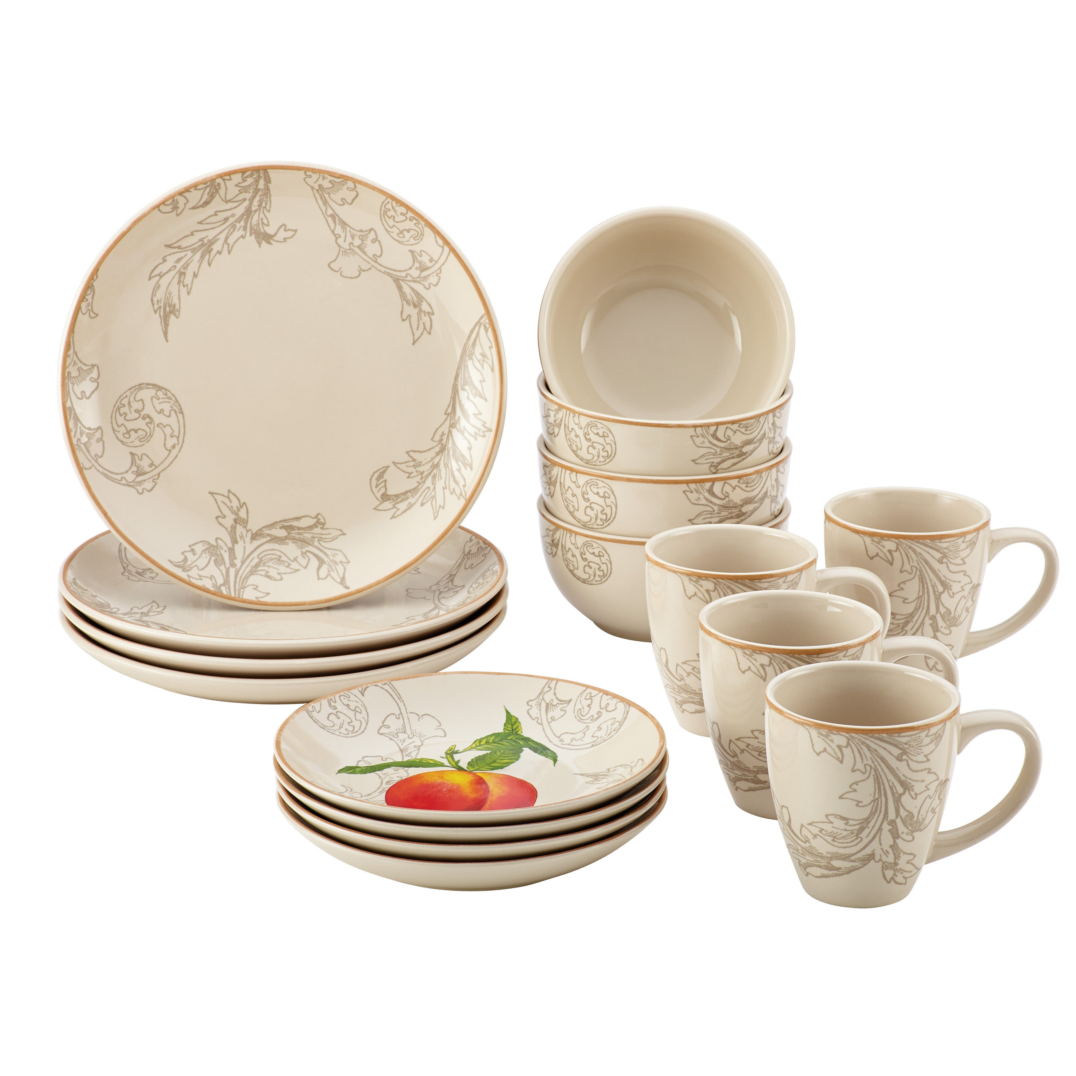 Paula Deen Orchard Harvest Stoneware 16 Piece Dinnerware Set Free Shipping Today 22280158