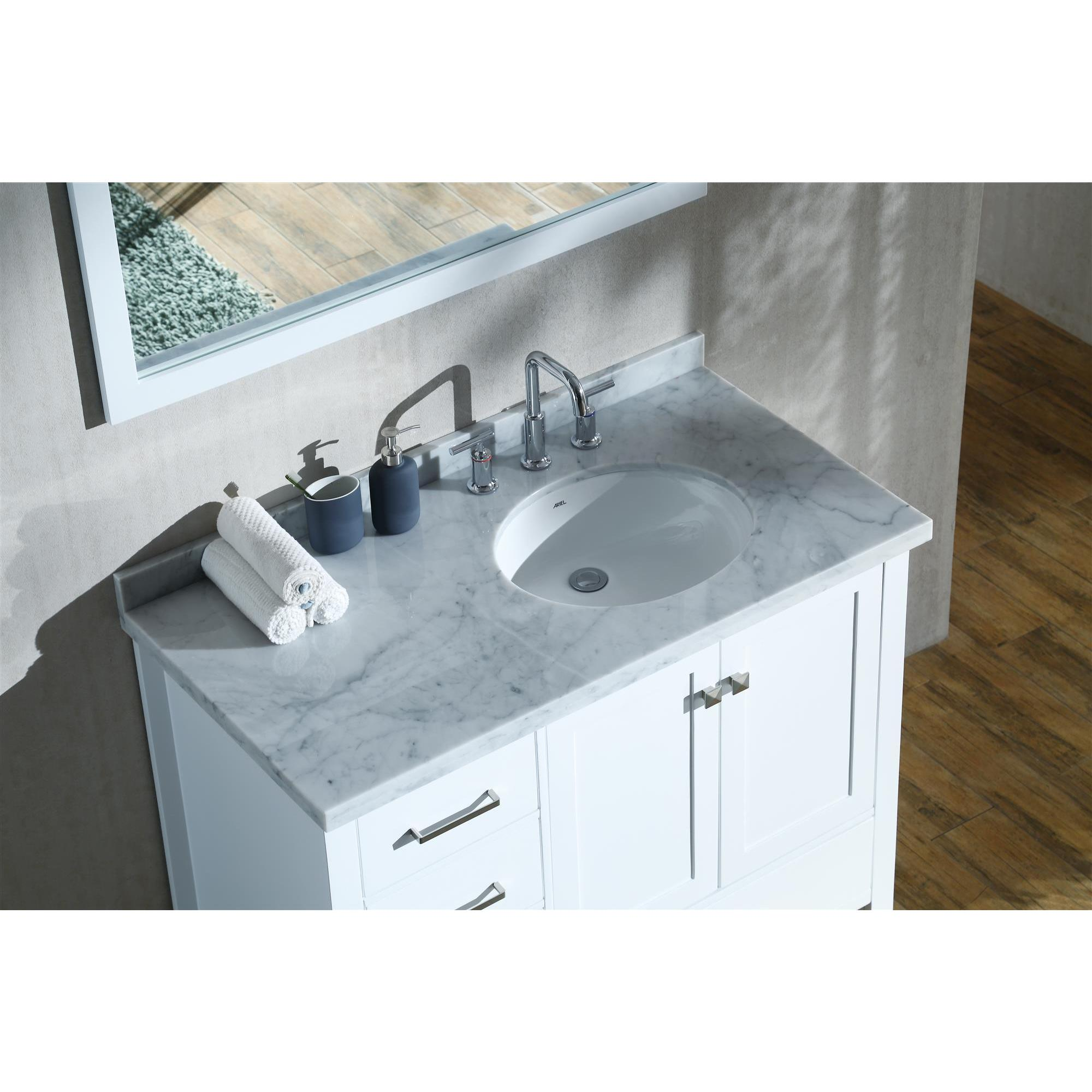 Ariel Cambridge White 43-inch Right Offset Single-sink Vanity Set ...