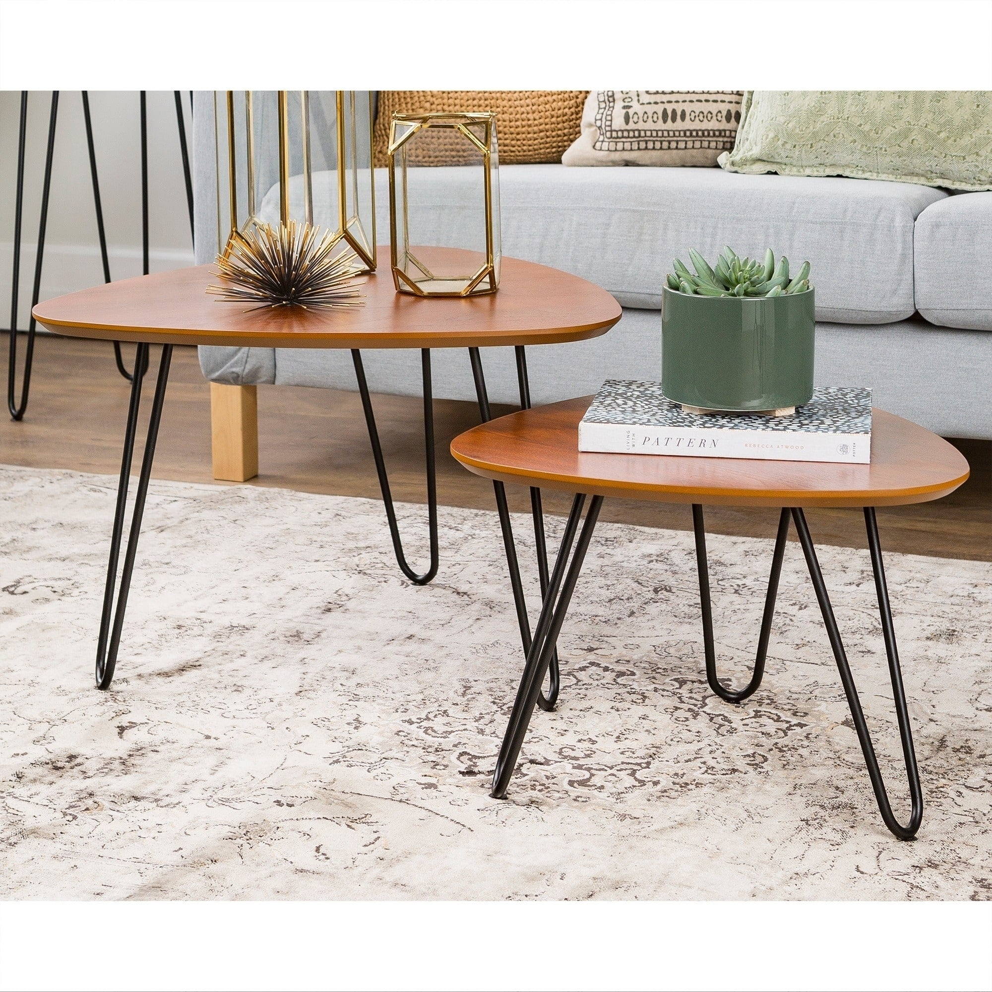 Hairpin Leg Wood Nesting Coffee Table Set Walnut Free Shipping