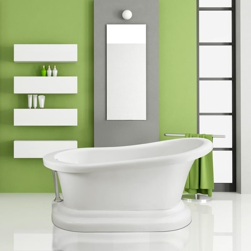 Shop Streamline White 60-inch Soaking Freestanding Tub with External ...