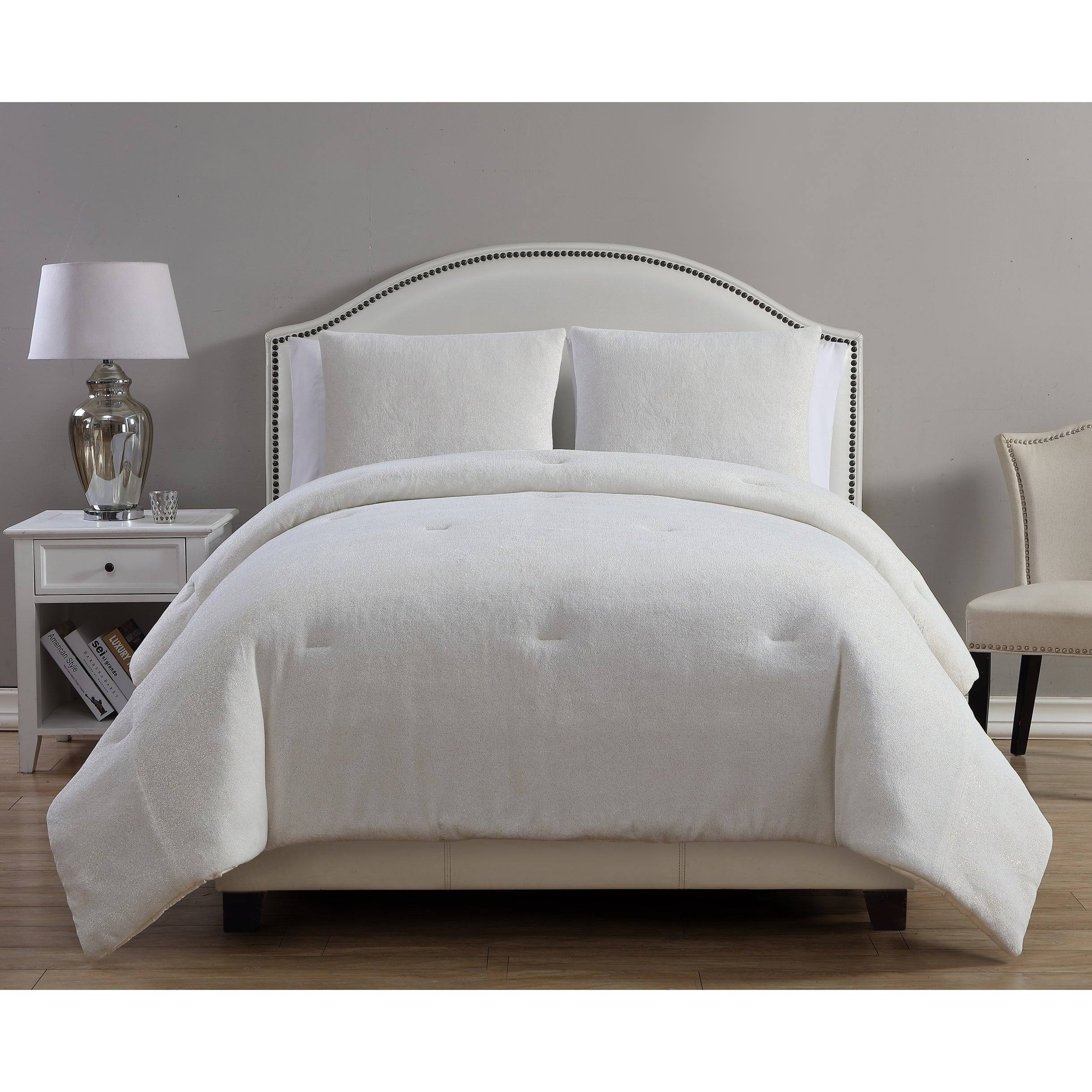 metallic plush comforter duvet bedding free bath set product home cover gabriella vcny piece shipping overstock today