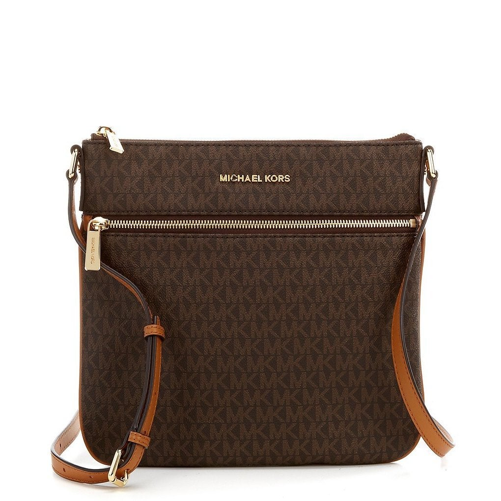8f0a10fb5254 Shop Michael Kors Bedford Signature Flat Brown Crossbody Bag - Free  Shipping Today - Overstock - 15889348