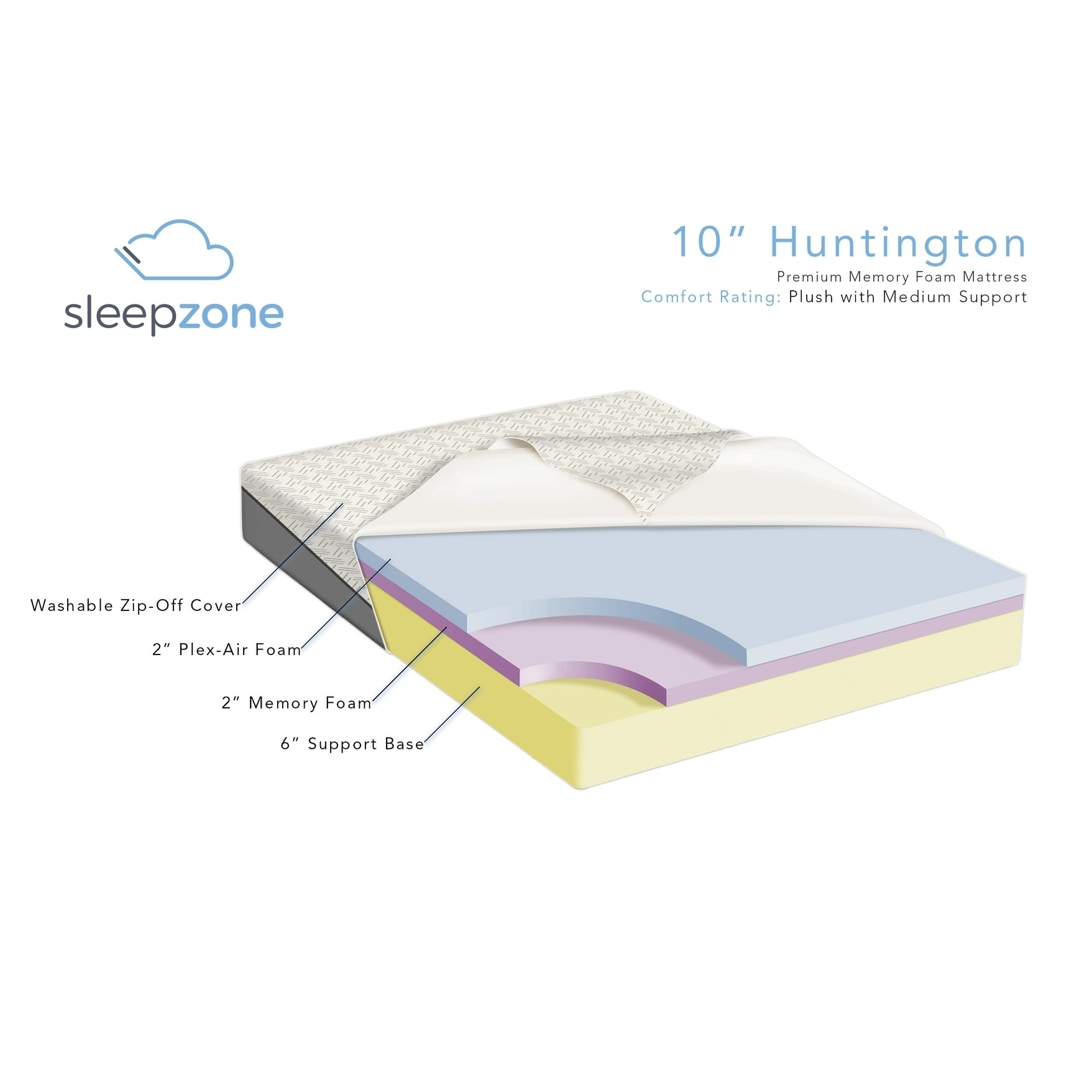 sleep zone huntington 10 inch king size memory foam mattress free