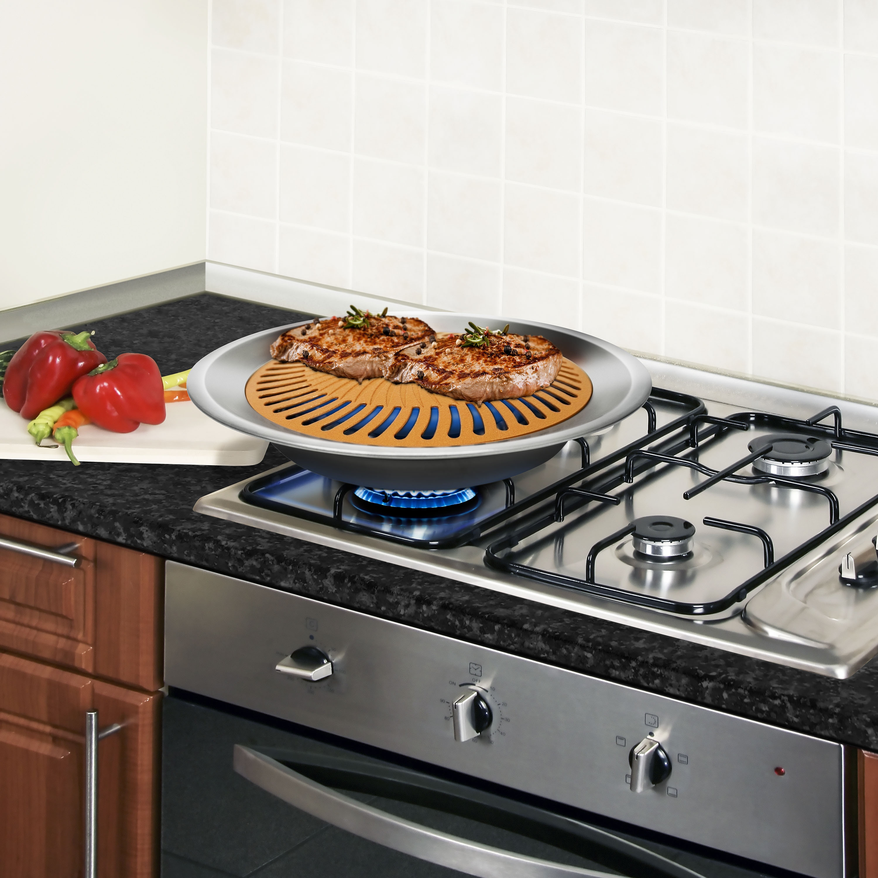 gas cooktop with grill. Gotham Steel Ti Cerama Nonstick Stove Top Indoor Grill - Free Shipping On Orders Over $45 Overstock 22297034 Gas Cooktop With