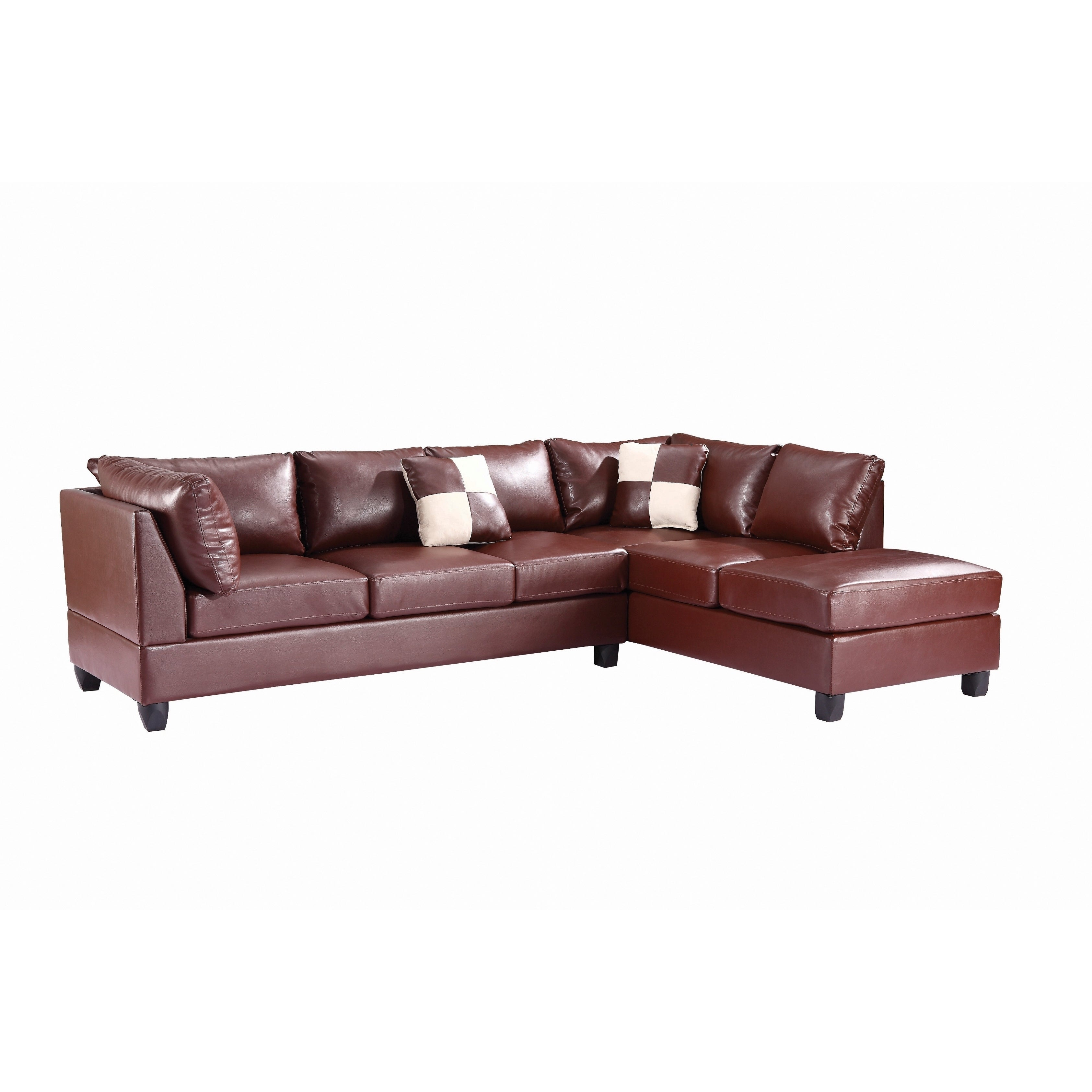 Attirant Shop LYKE Home Contemporary Leather Look PU Reversible Sectional Sofa   On  Sale   Free Shipping Today   Overstock.com   15891942