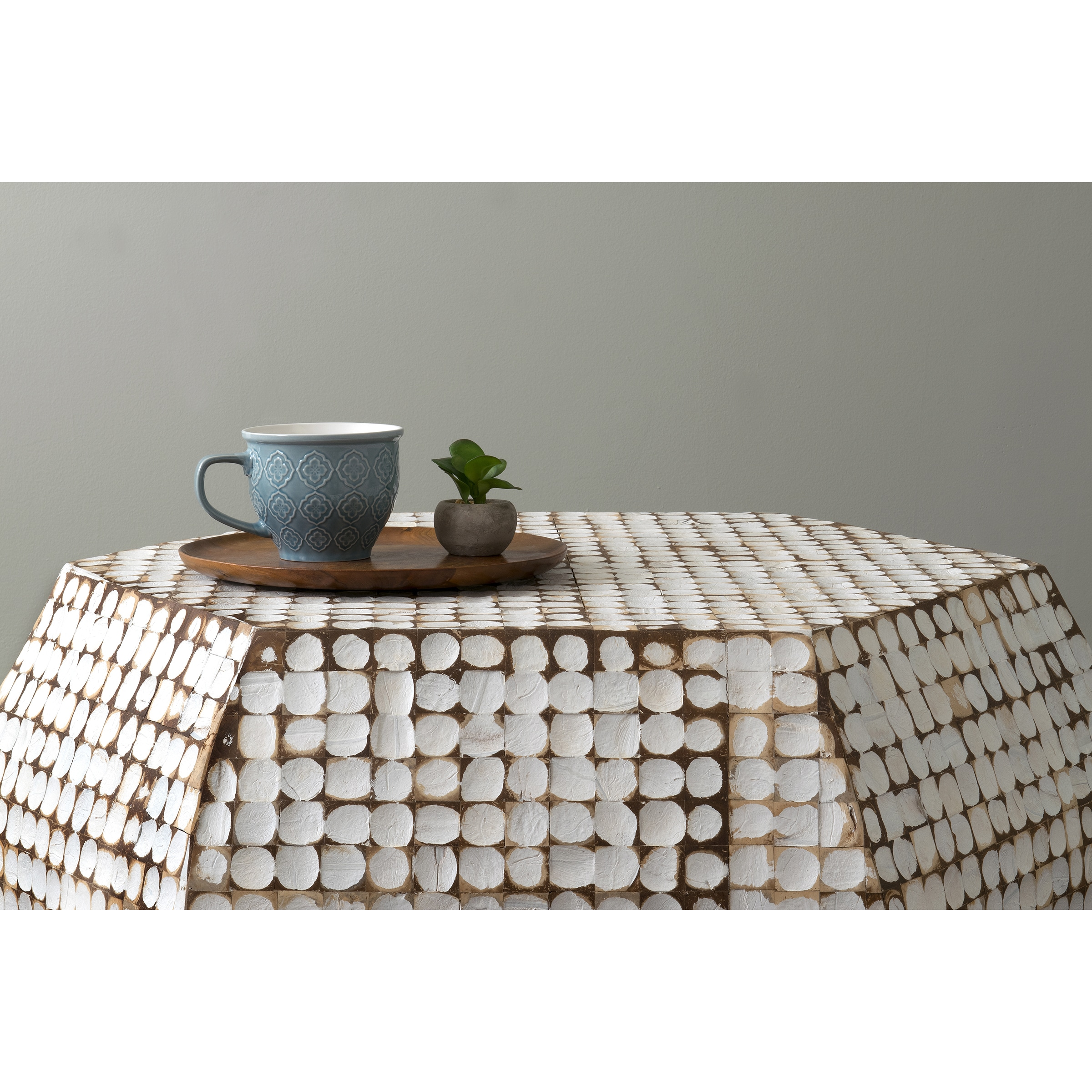 East At Main s Delmont White Coconut Shell Inlay Hexagon Coffee