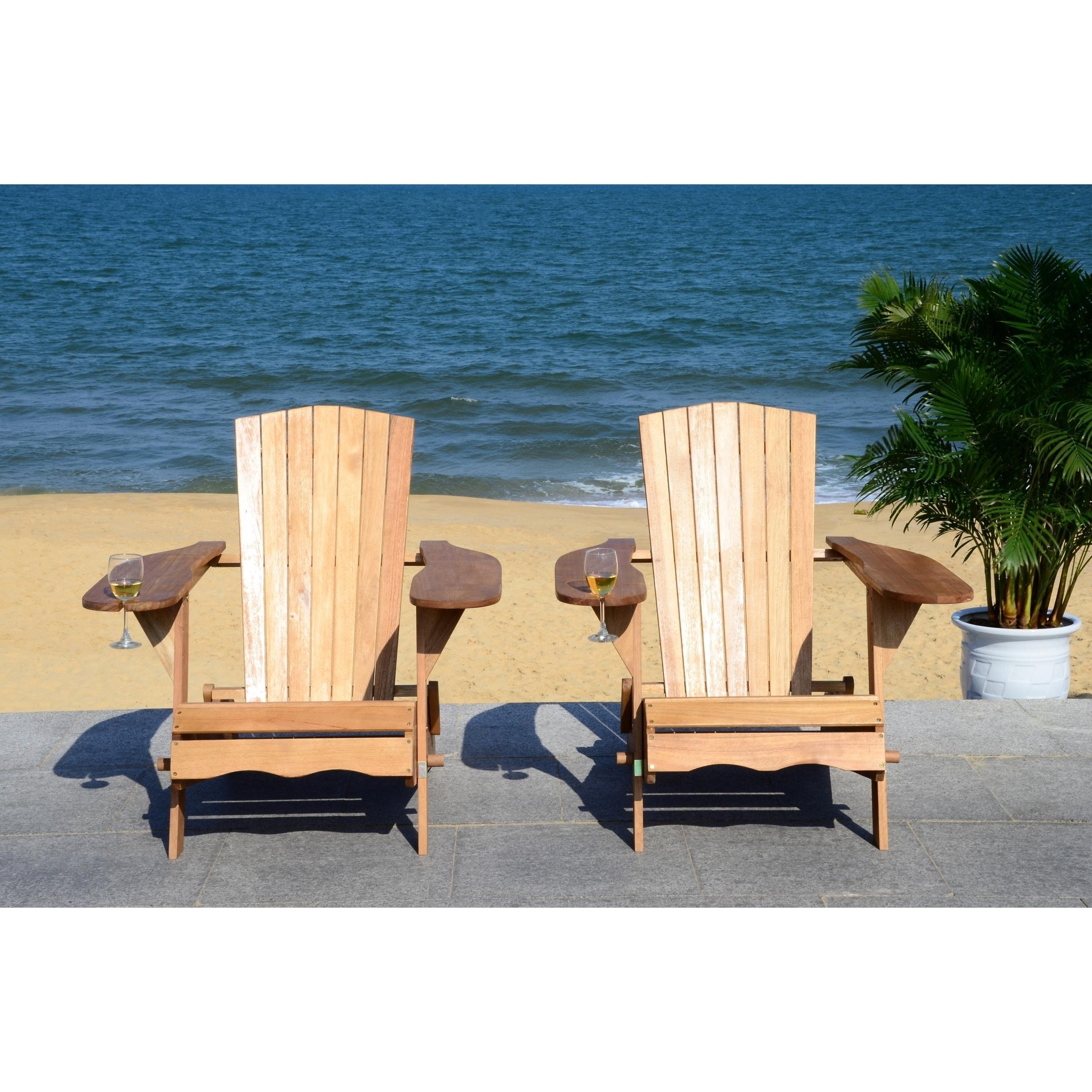 Shop Safavieh Breetel Natural Set Of 2 Adirondack Chairs - Free ...