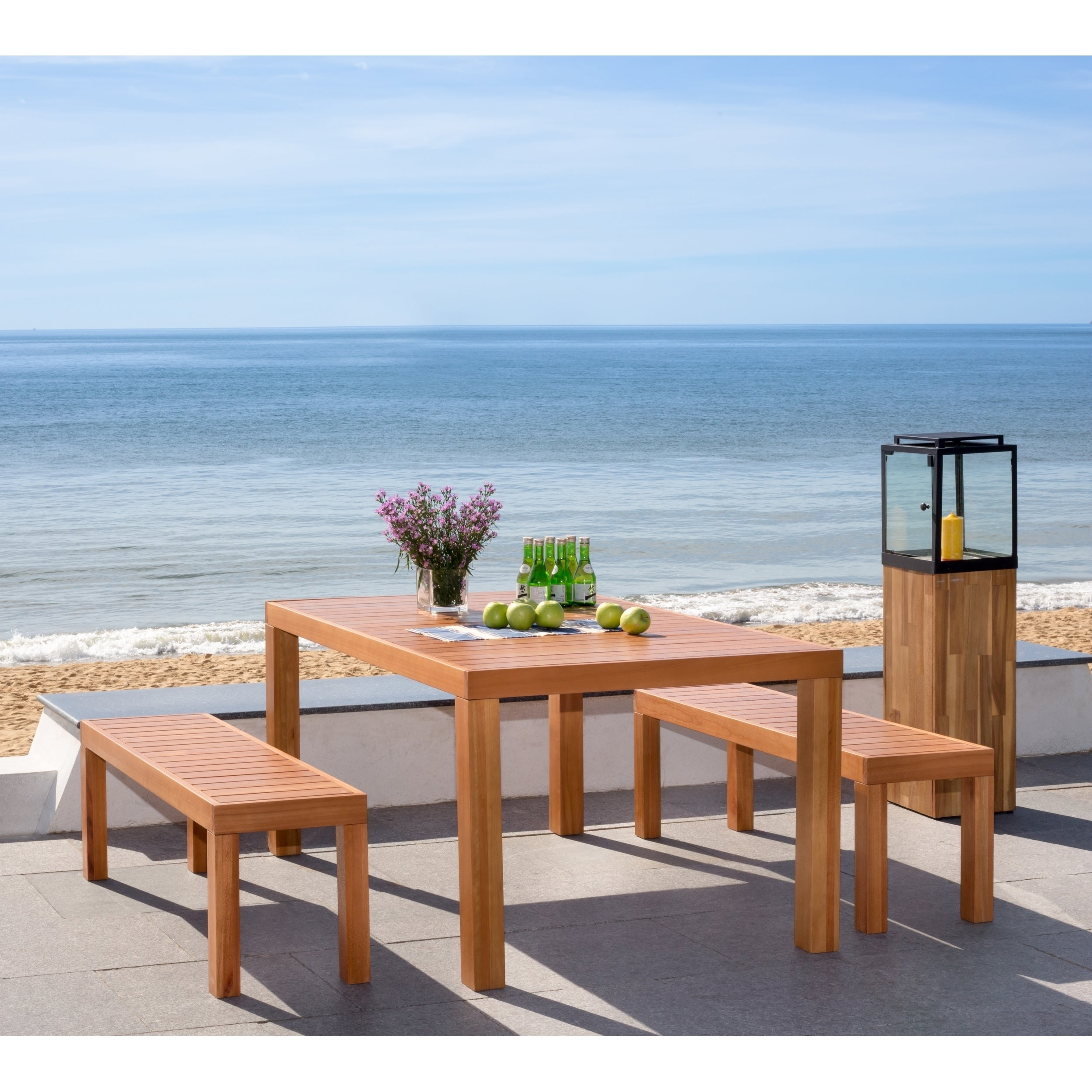 Shop Safavieh Dario Natural/Wood 3 Piece Dining Set With 59-Inch L ...