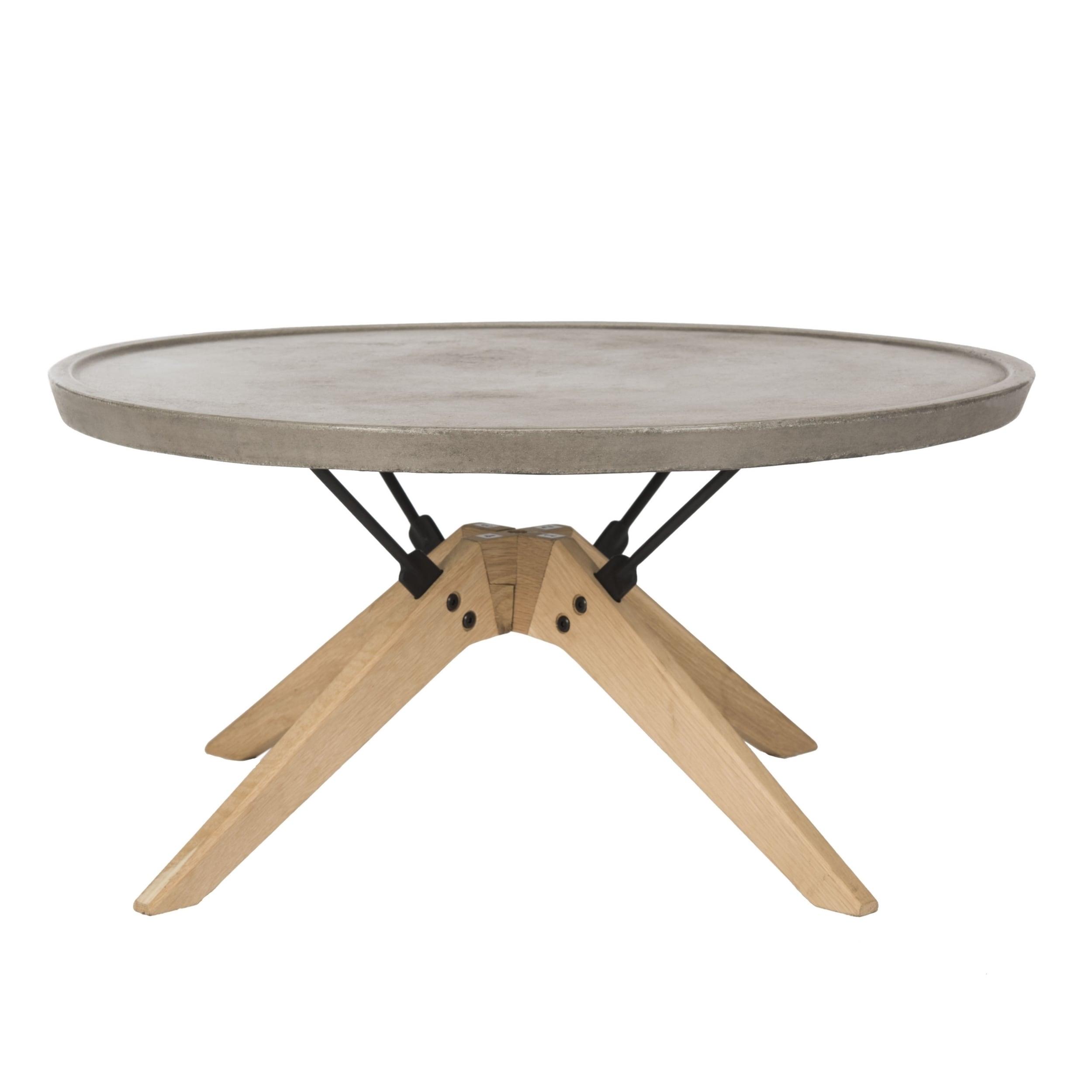Safavieh Bryson Dark Grey Modern Concrete Round Indoor Outdoor Coffee Table 29 5 X 29 5 X 14 6