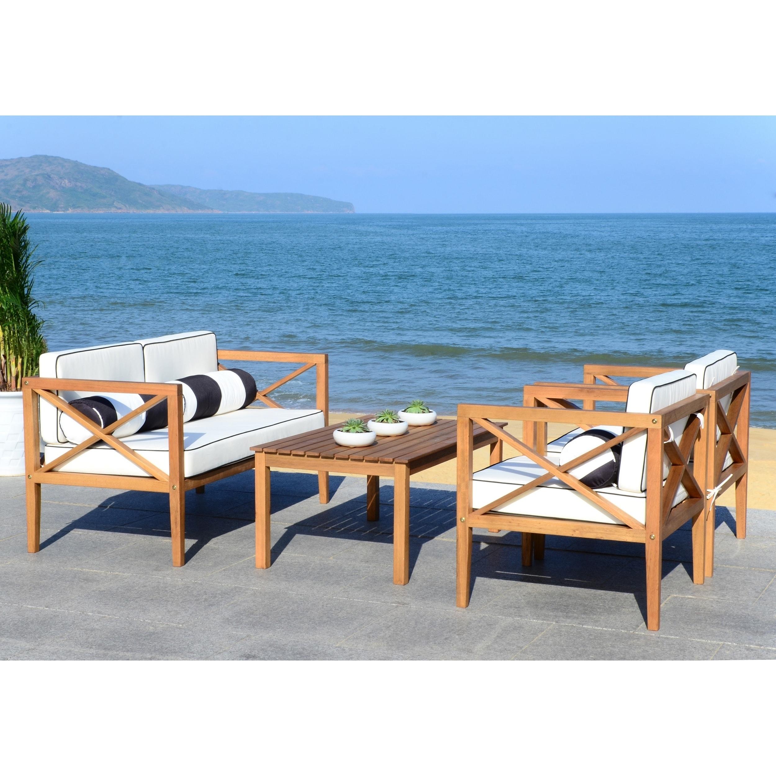Shop Safavieh Nunzio Natural/Black/White 4 Pc Outdoor Set With ...