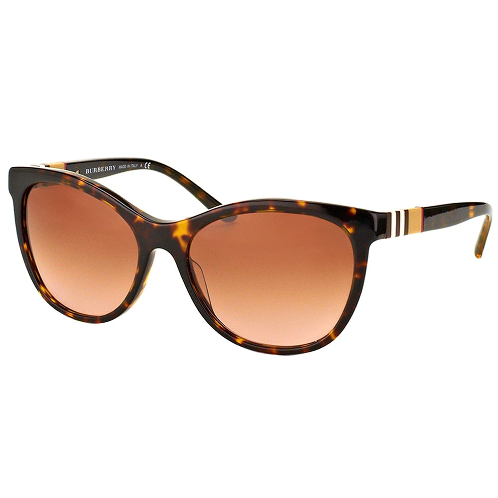 f9eba46fd9cc Shop Burberry BE 4199 300213 Dark Havana Plastic Cat-Eye Sunglasses Brown  Gradient Lens - Free Shipping Today - Overstock - 15915503