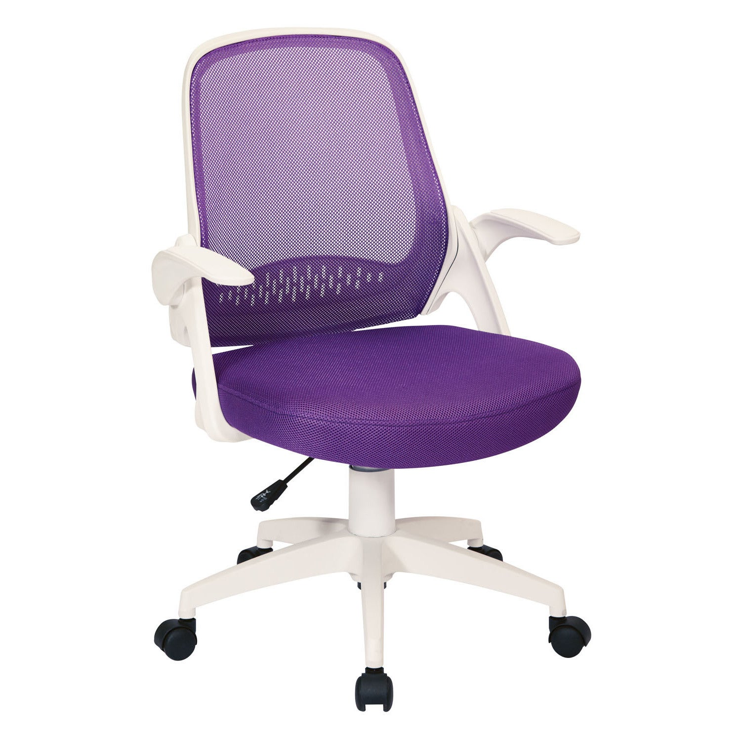 Osp Home Furnishings Jackson Fabric Office Chair With Mesh Back And White Frame Including Flip Arms Free Shipping Today 15921391