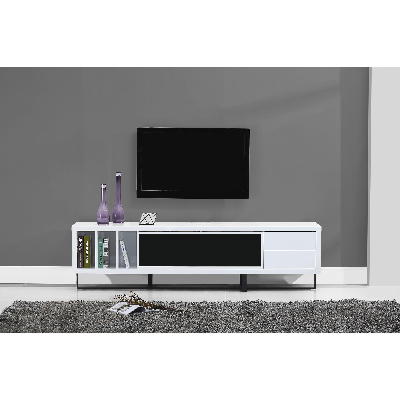 B Modern Innovator White High Gloss Black Ir Tv Stand