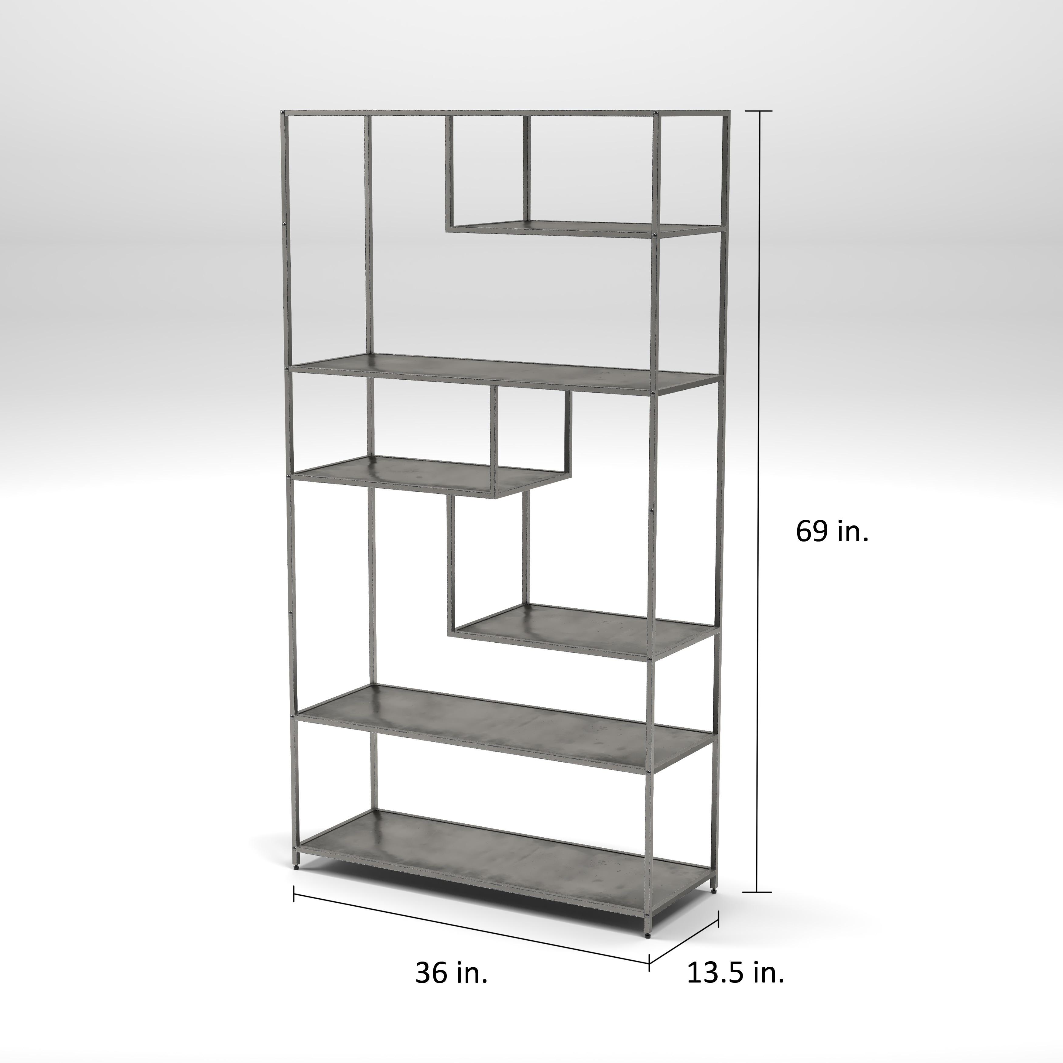 Shop Furniture Of America Logan Dark Grey Industrial Metal Tiered Bookshelf