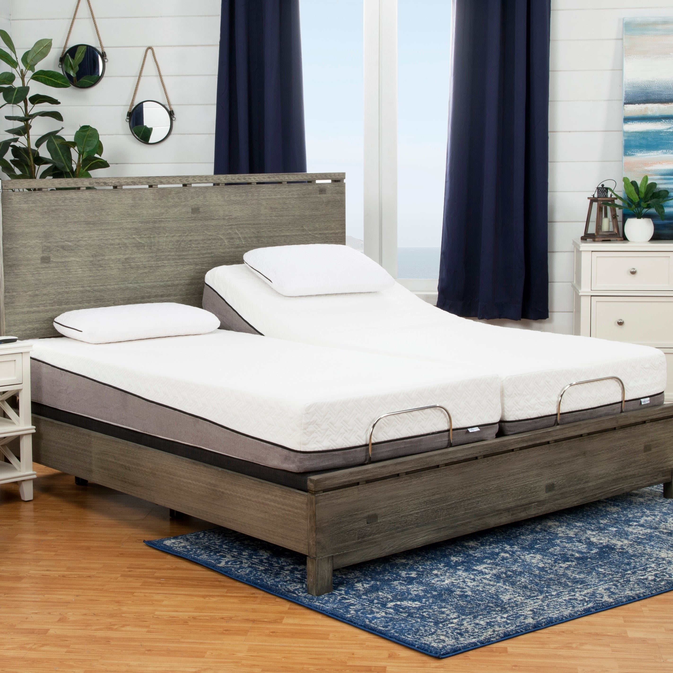 Shop sleep zone huntington 10 inch split king size memory foam mattress and adjustable bed set free shipping today overstock com 15923787