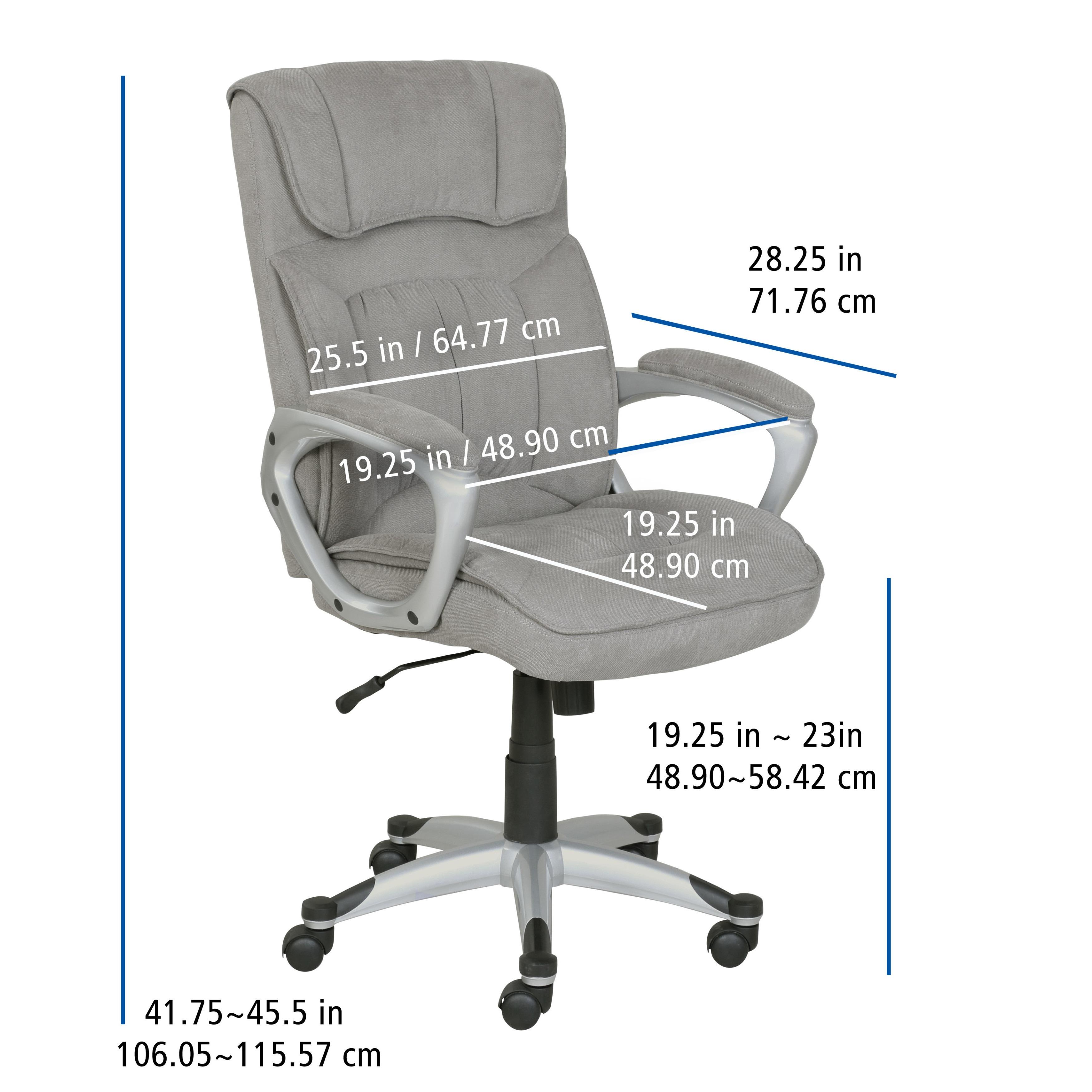 Serta Executive fice Chair in Glacial Grey Linen Metallic