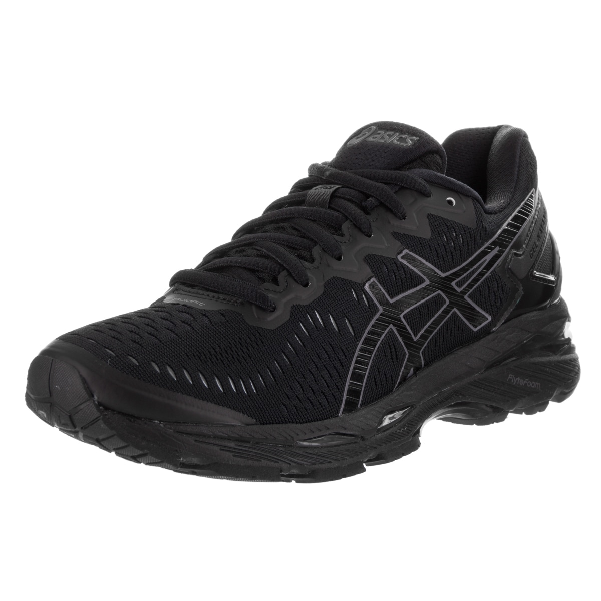 944cdec79de8 Shop Asics Women s Gel-kayano 23 Black Textile Running Shoes - Free ...