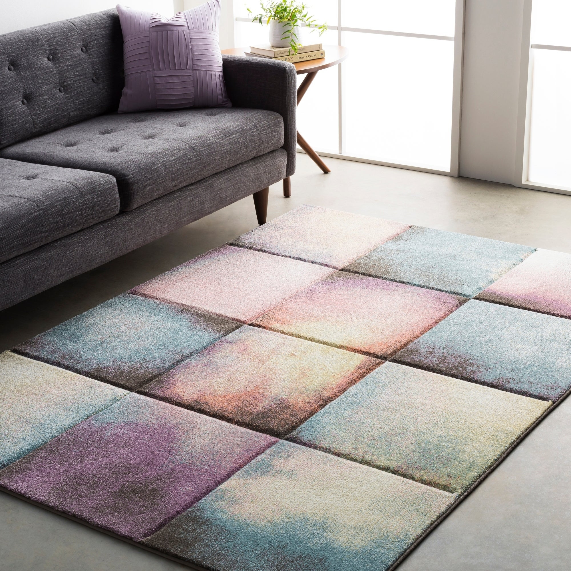 Modern Geometric Carved Blue And Pink Runner Rug 2 7 X 3 On Free Shipping Today Com 15924568