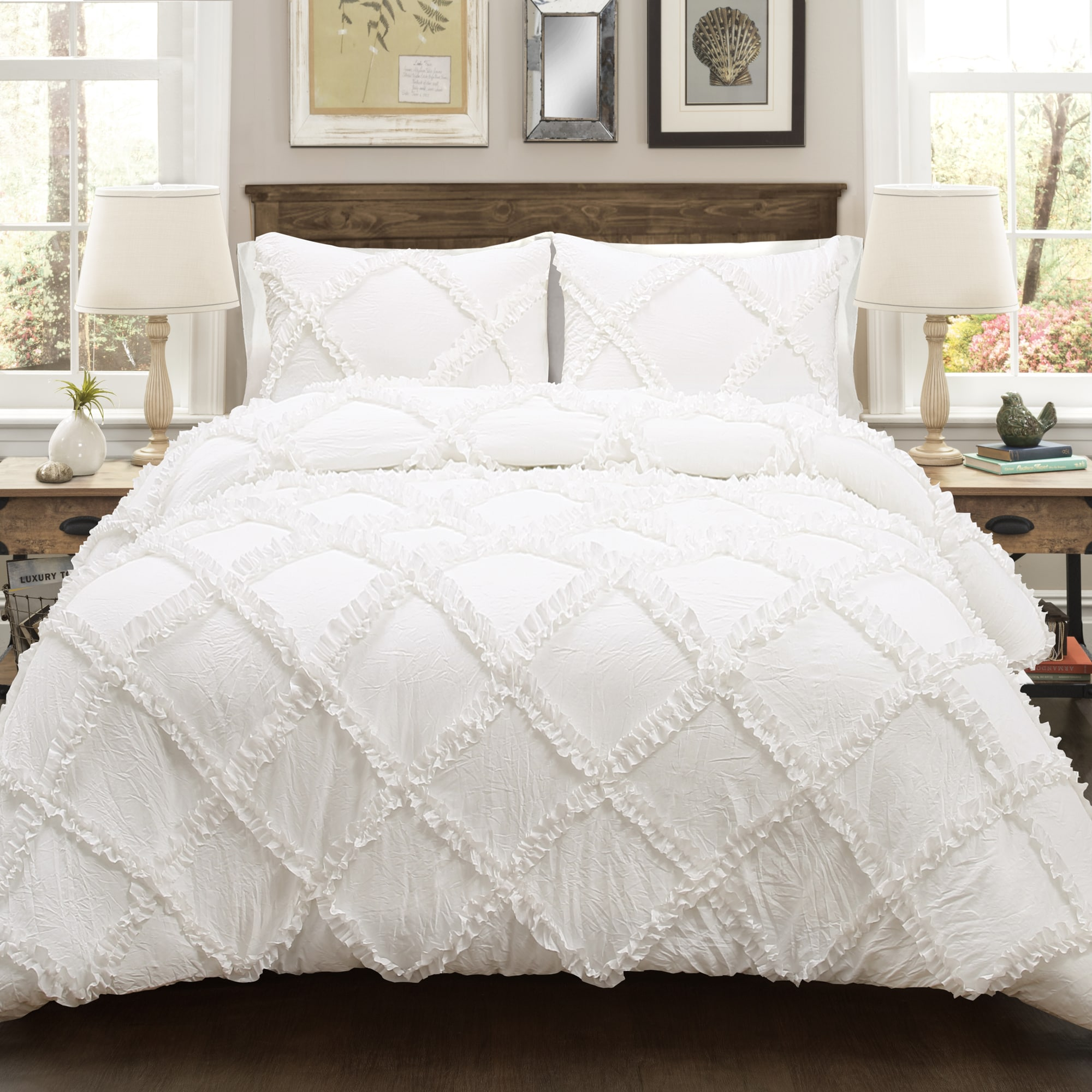 bedding ruffle lush piece diamond white today shipping product decor bath overstock free set comforter
