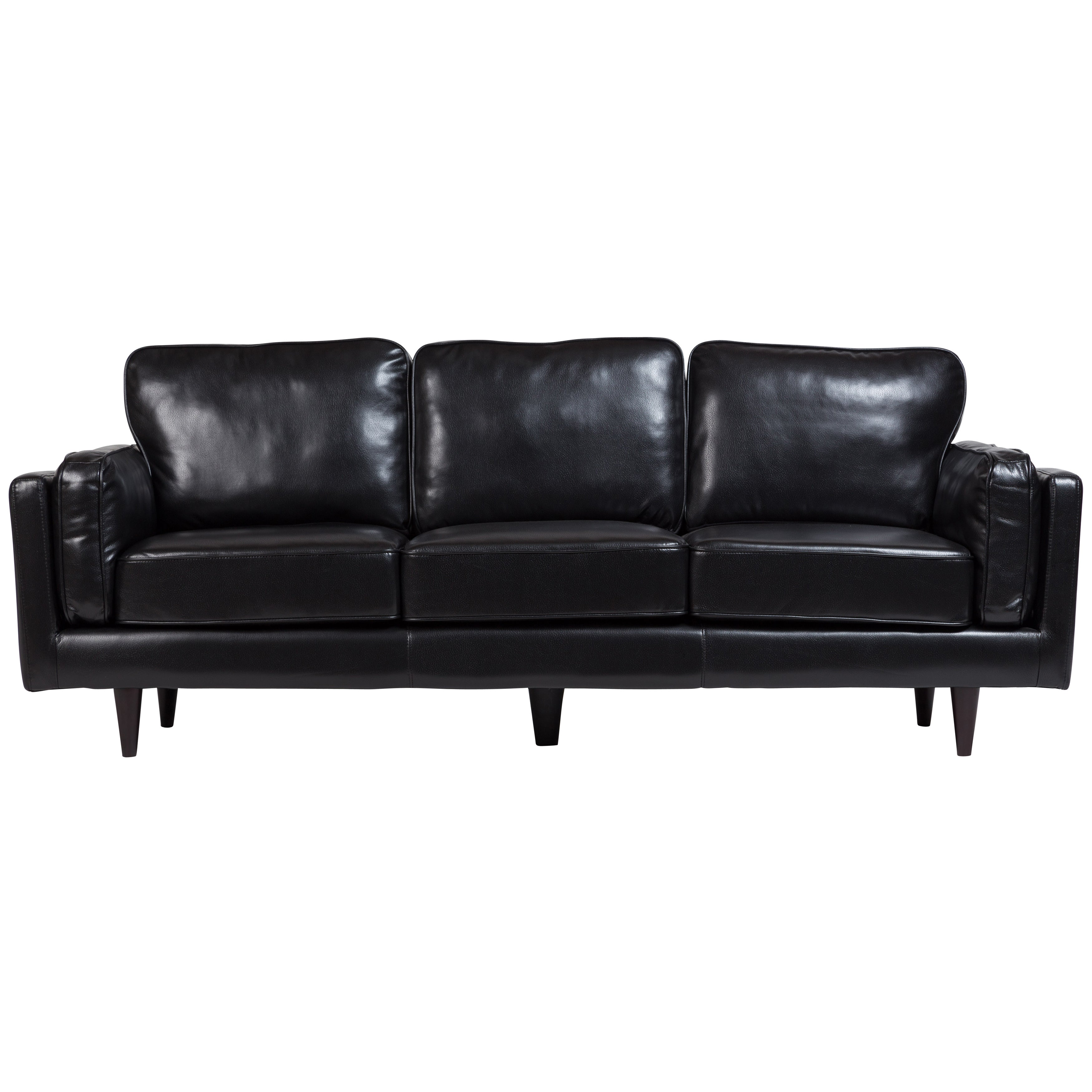 Shop Porter Dylan Black Leather Look Contemporary Mid Century Sofa