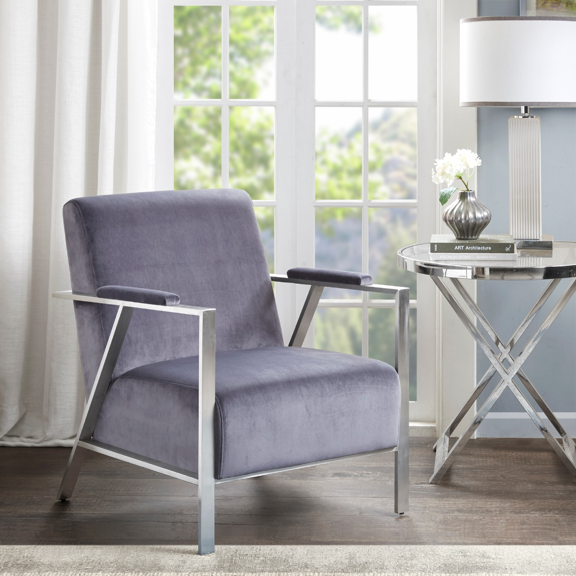 Shop madison park miguel grey silver accent chair free shipping today overstock com 15925448