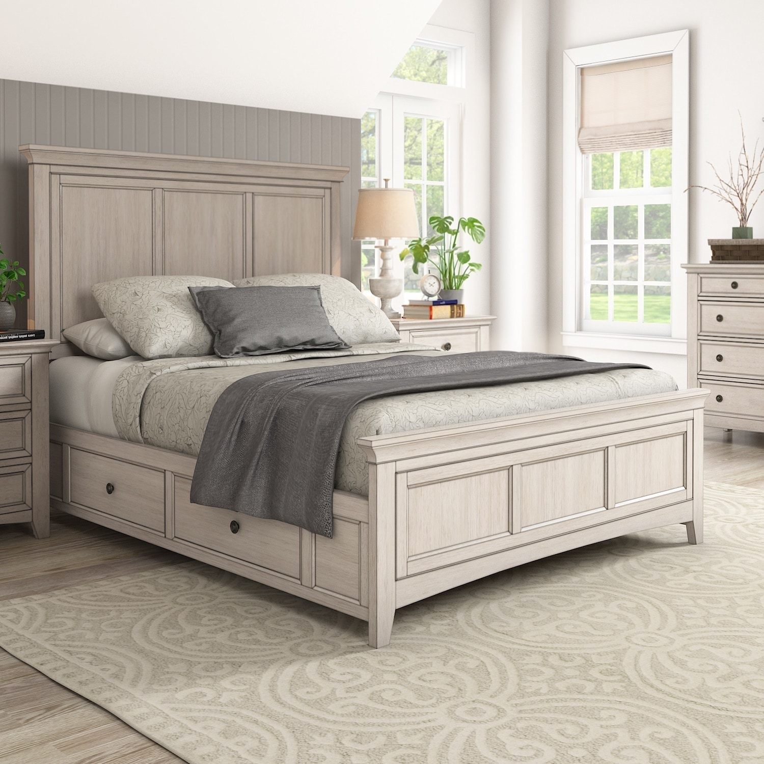 Ediline Queen Size Wood Panel Platform Storage Bed By Inspire