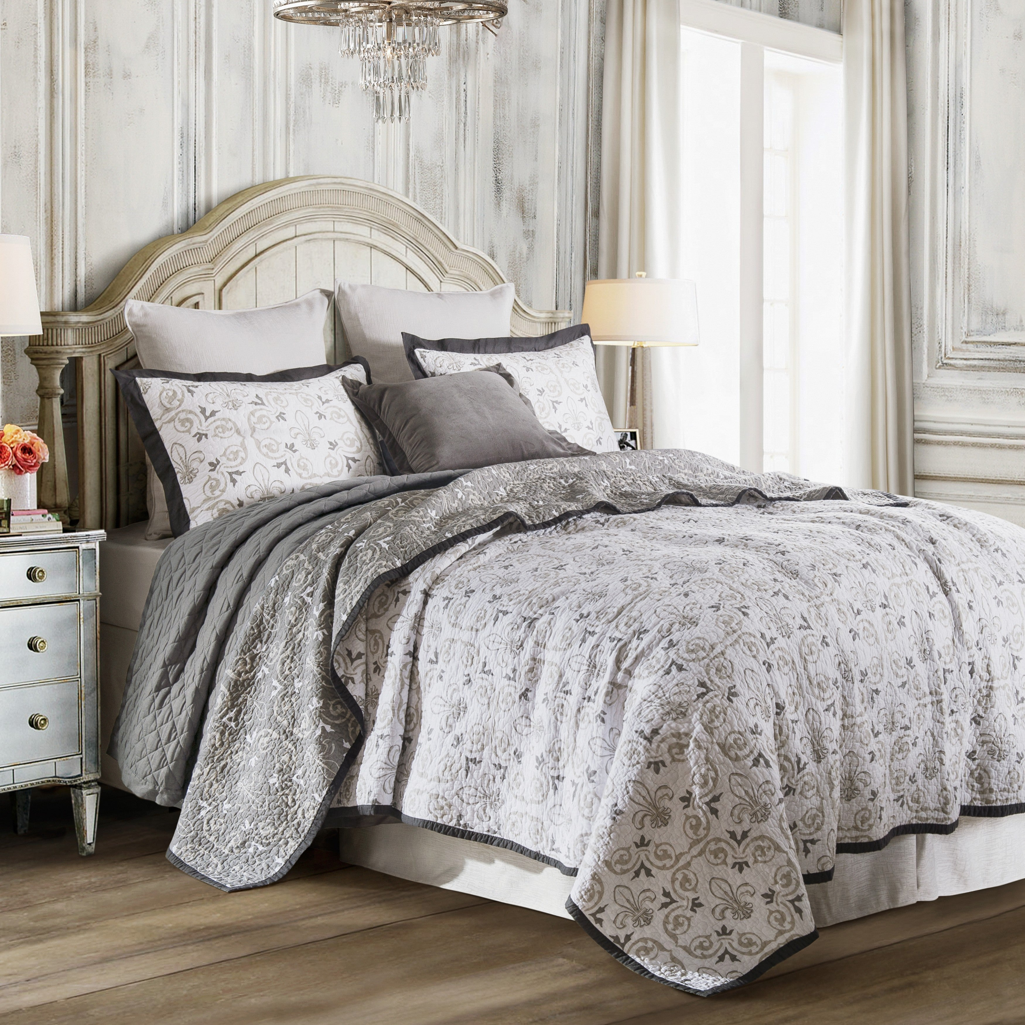 set king brown or de comforter queen fleur cream lis pin accents