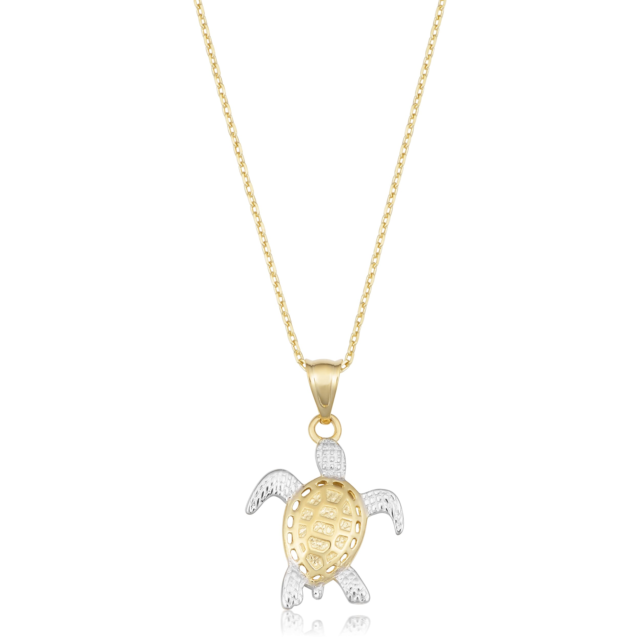 Fremada 14k two tone gold turtle pendant necklace 18 inch free fremada 14k two tone gold turtle pendant necklace 18 inch free shipping today overstock 22350260 aloadofball Choice Image