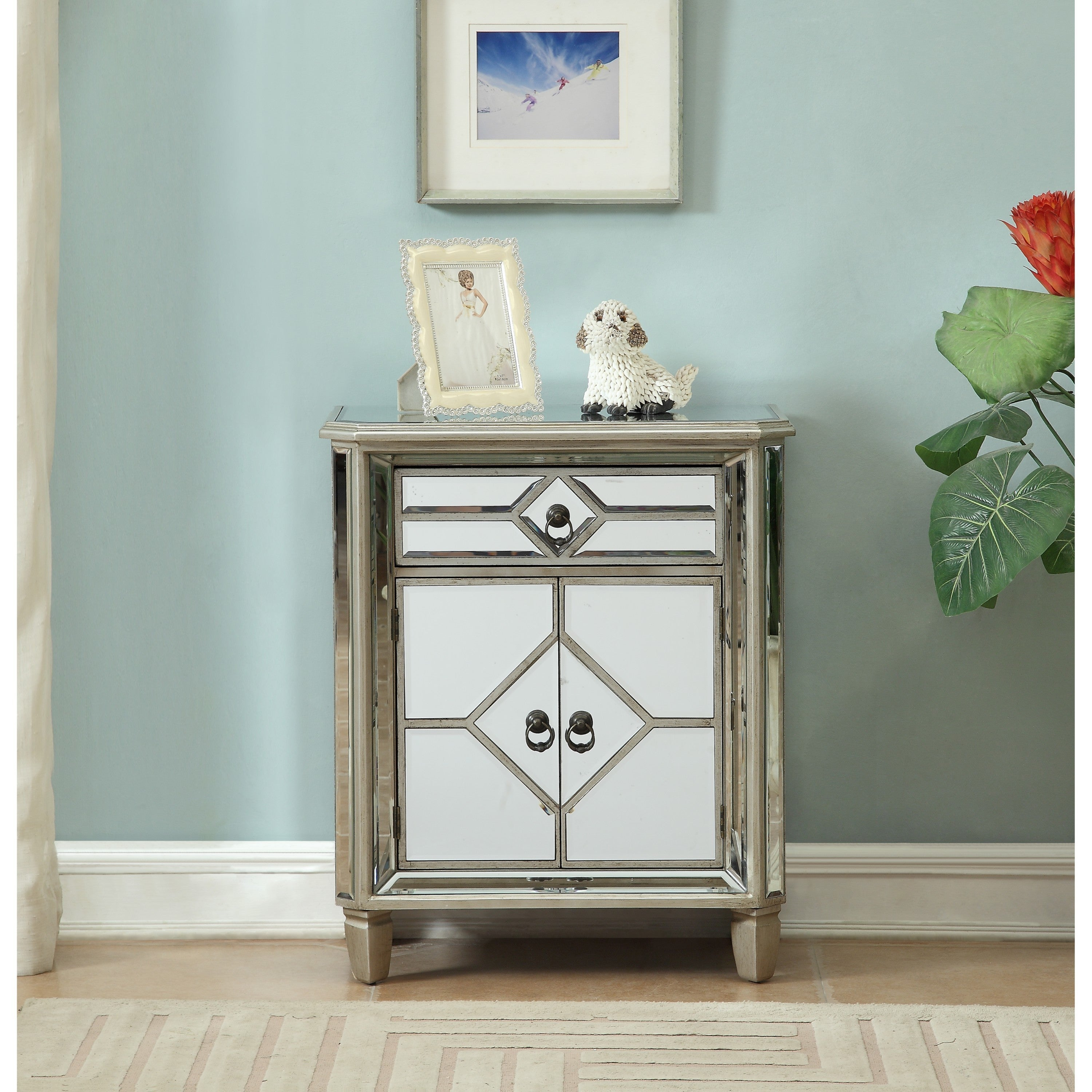 Shop Cadence Metallic One Drawer Two Door Cabinet - Free Shipping ...