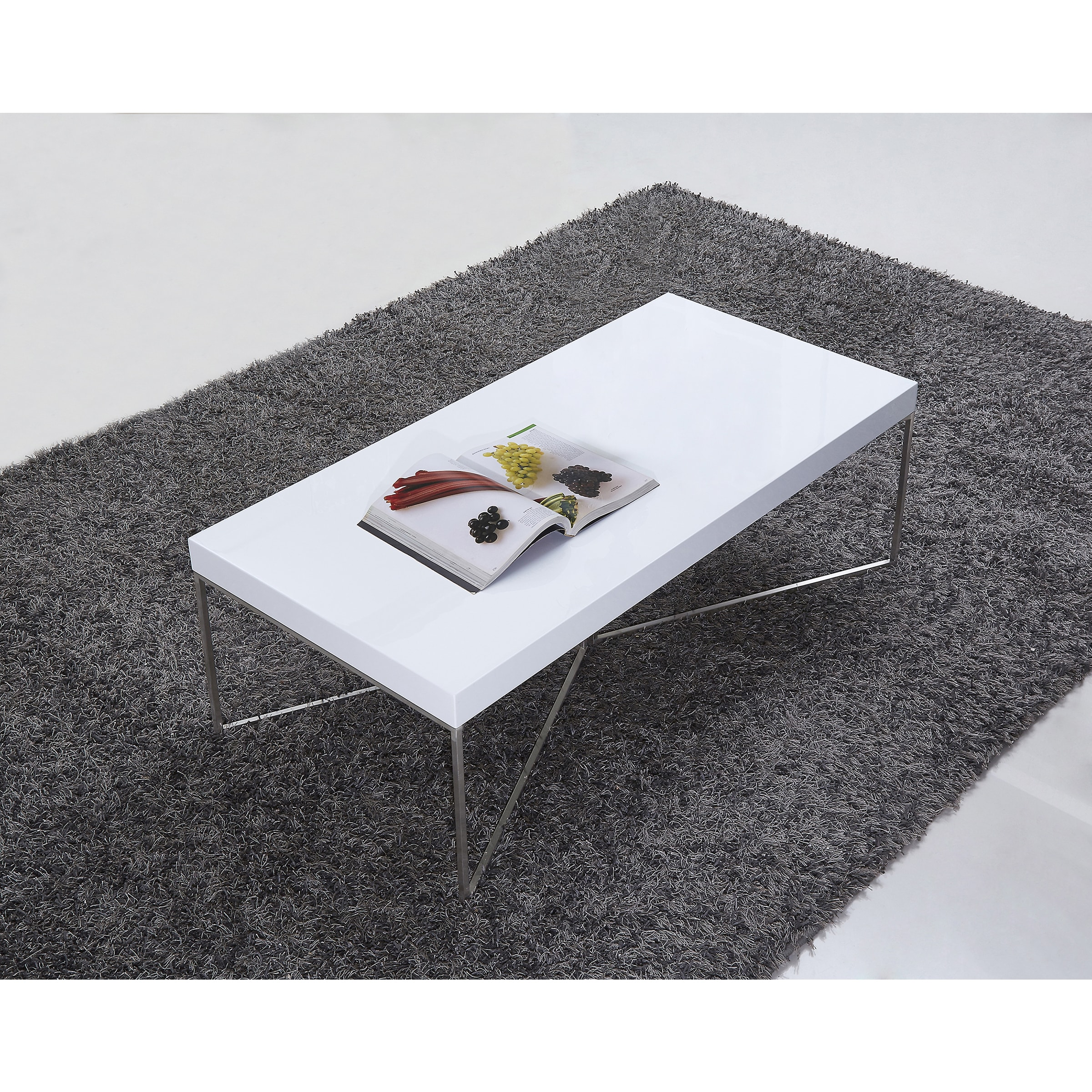 Shop B Modern Mixer High Gloss White And Stainless Steel Coffee Table    Free Shipping Today   Overstock   15951501