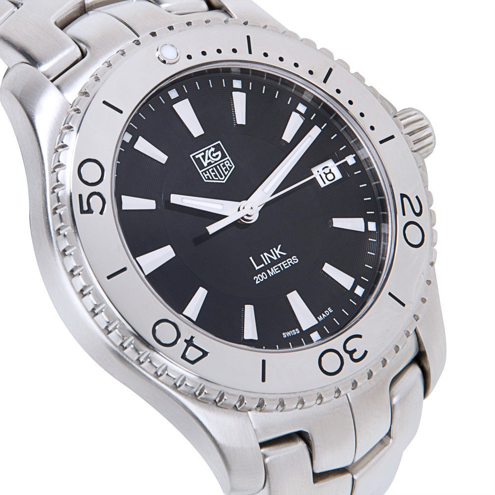 shop pre owned tag heuer link 200m mens diver s watch in stainless rh overstock com Omega Seamaster Rolex Submariner
