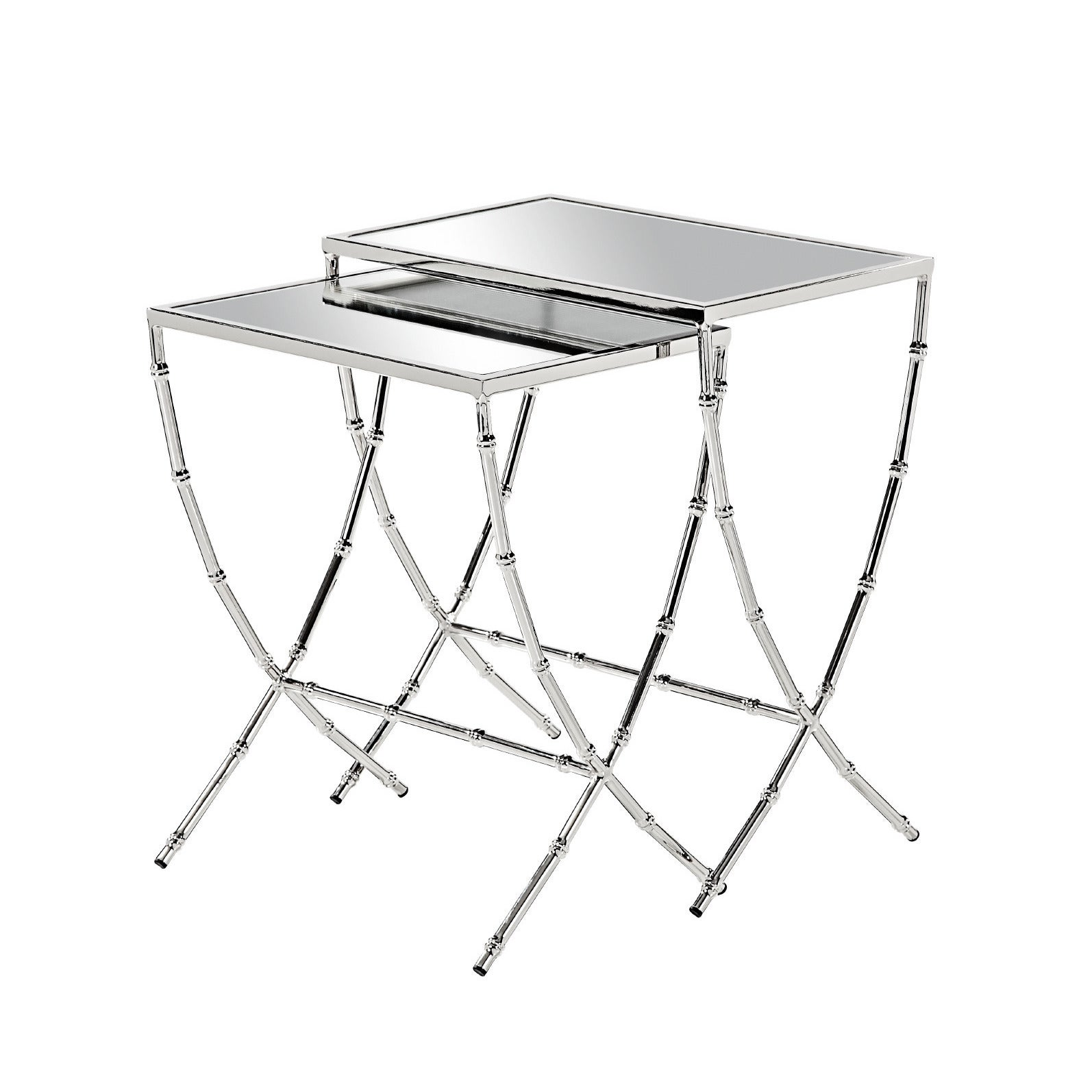 Burnham Home Designs Sterling Iron and Glass Nesting Tables (Set of ...