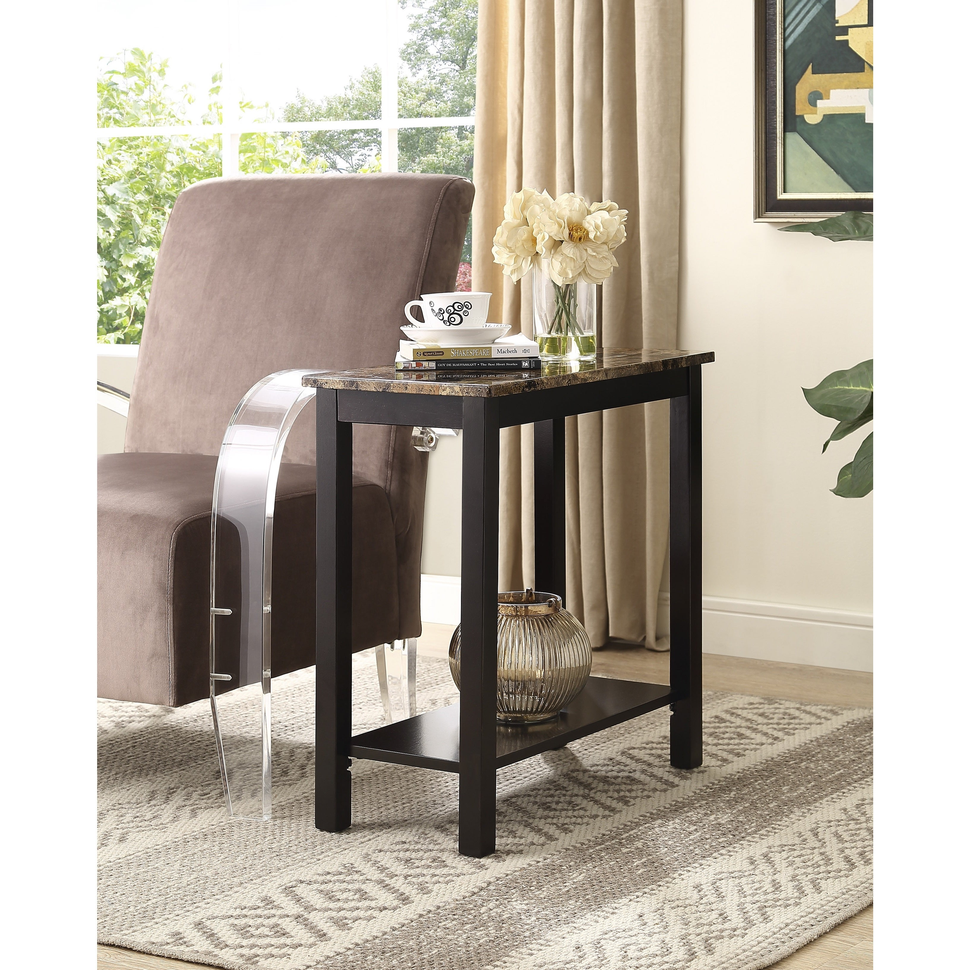 Shop lediyana espresso brown wooden faux marble side table free shipping today overstock com 15951813