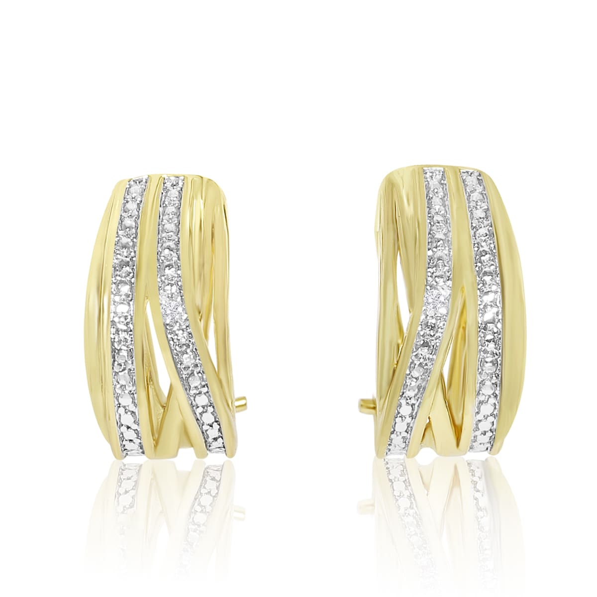 Elegant Diamond Half Hoop Earrings Yellow Gold Over Br 3 4 Inch Free Shipping On Orders 45 15957972
