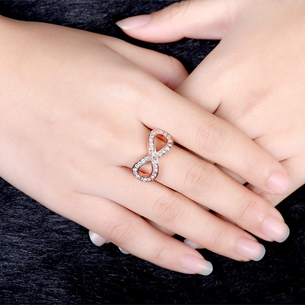 Hakbaho Jewelry Rose Gold Plated CZ Infinity Design Ring - Free ...