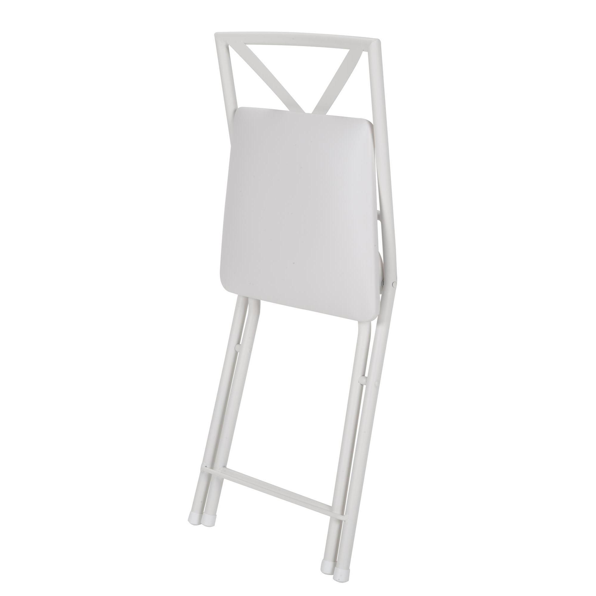 COSCO Cross Back Metal White Folding Dining Chair with Vinyl Seat