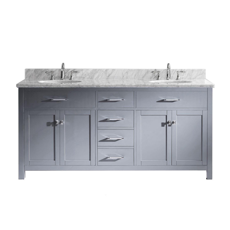 Shop Caroline 72-inch Carrara White Marble Double Bathroom Vanity No ...