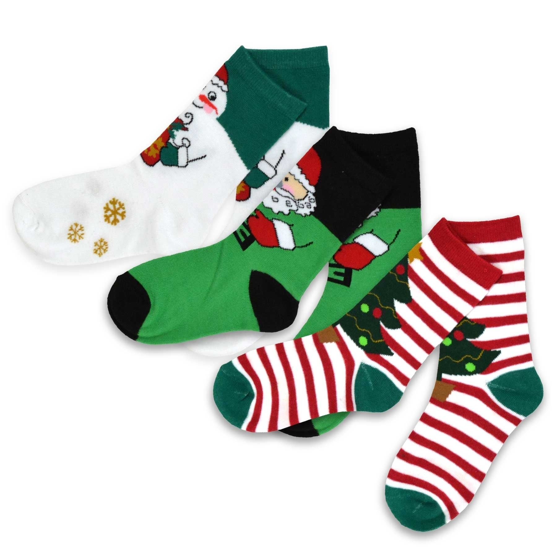 03324462a85 TeeHee Christmas Kids Cotton Fun Crew Socks 3-Pair Pack (Santa Clause  Snowman)